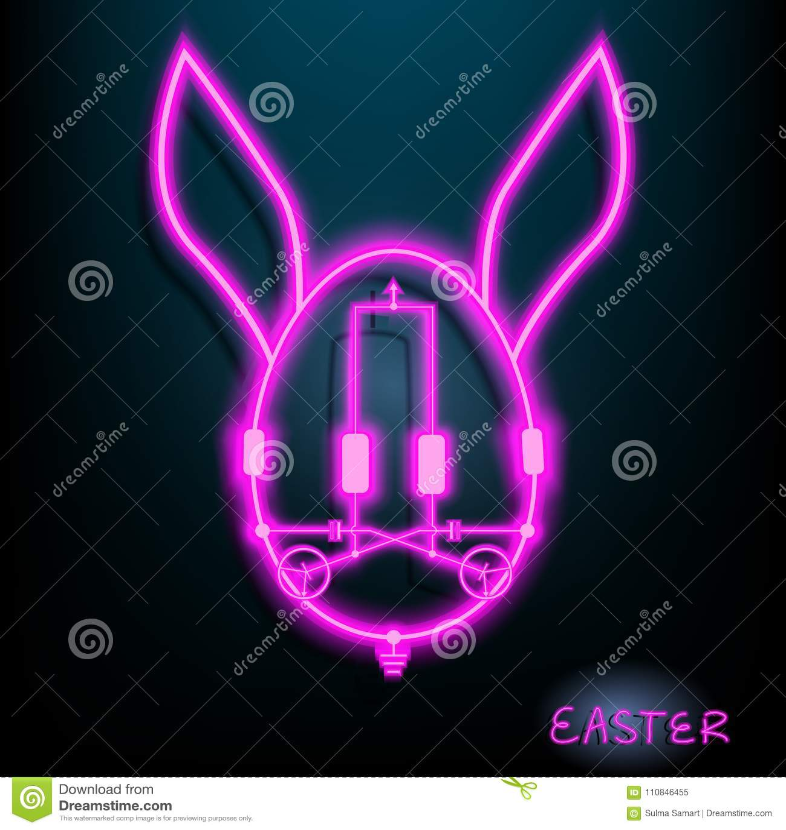 Lámpara de neón del circuito de Pascua LED del huevo del conejo con color rosado Fondo oscuro Ilustración Vector Diseño gráfico