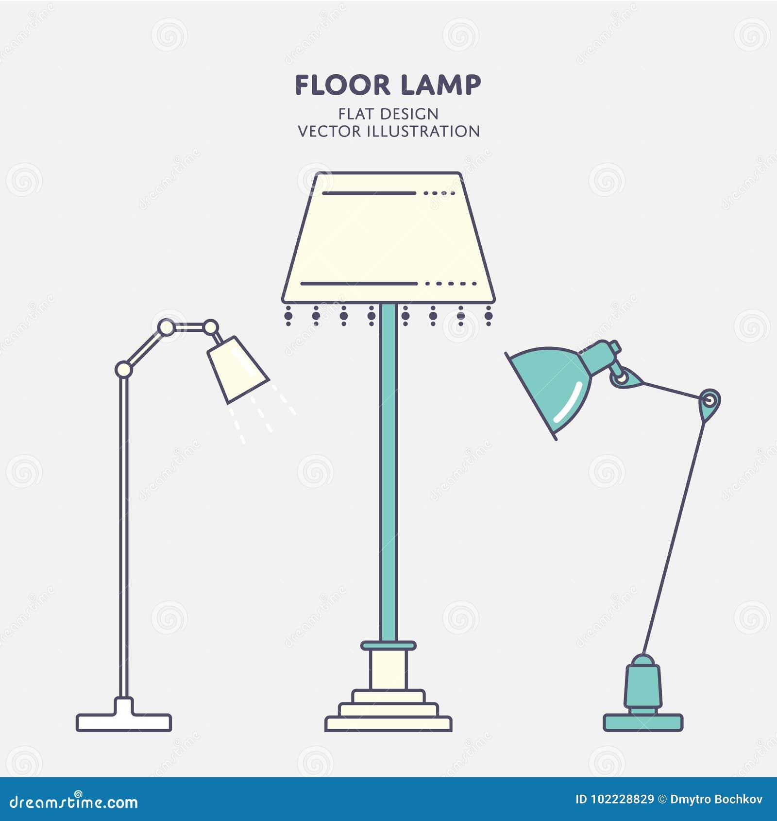 Diseño Vector Plano Del De Lámpara Pie Ilustración 0wnO8Pk