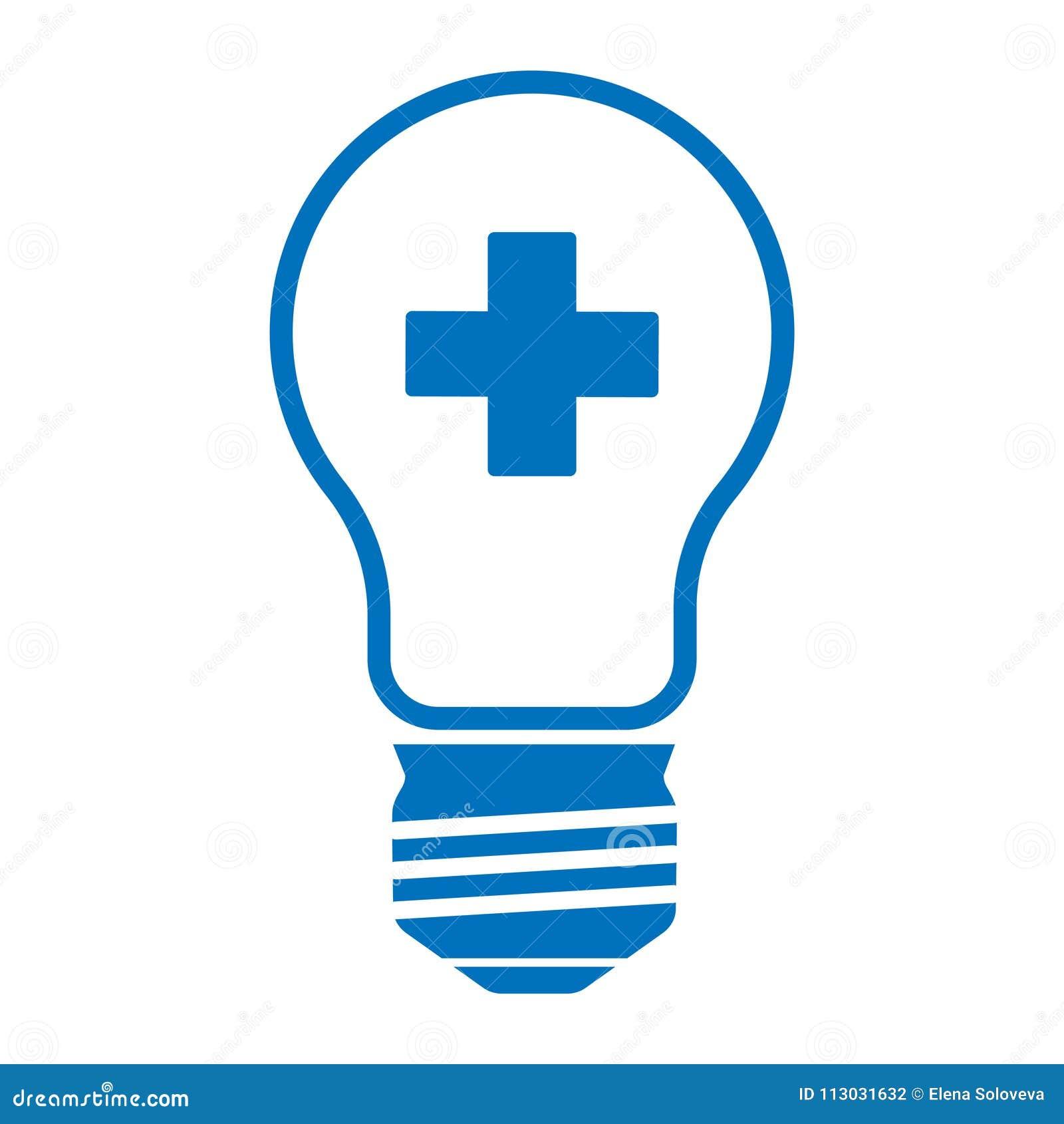 Lámpara médica con una cruz azul en un fondo blanco