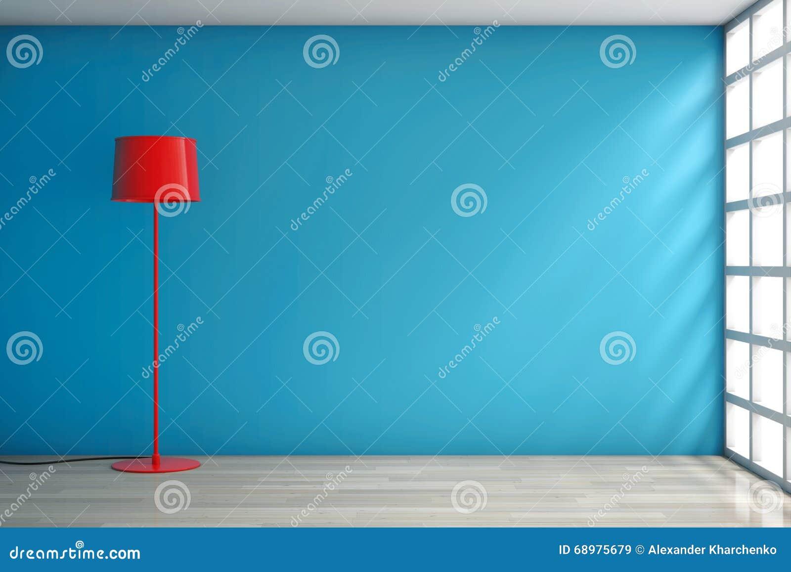 Lámpara roja moderna contra una pared
