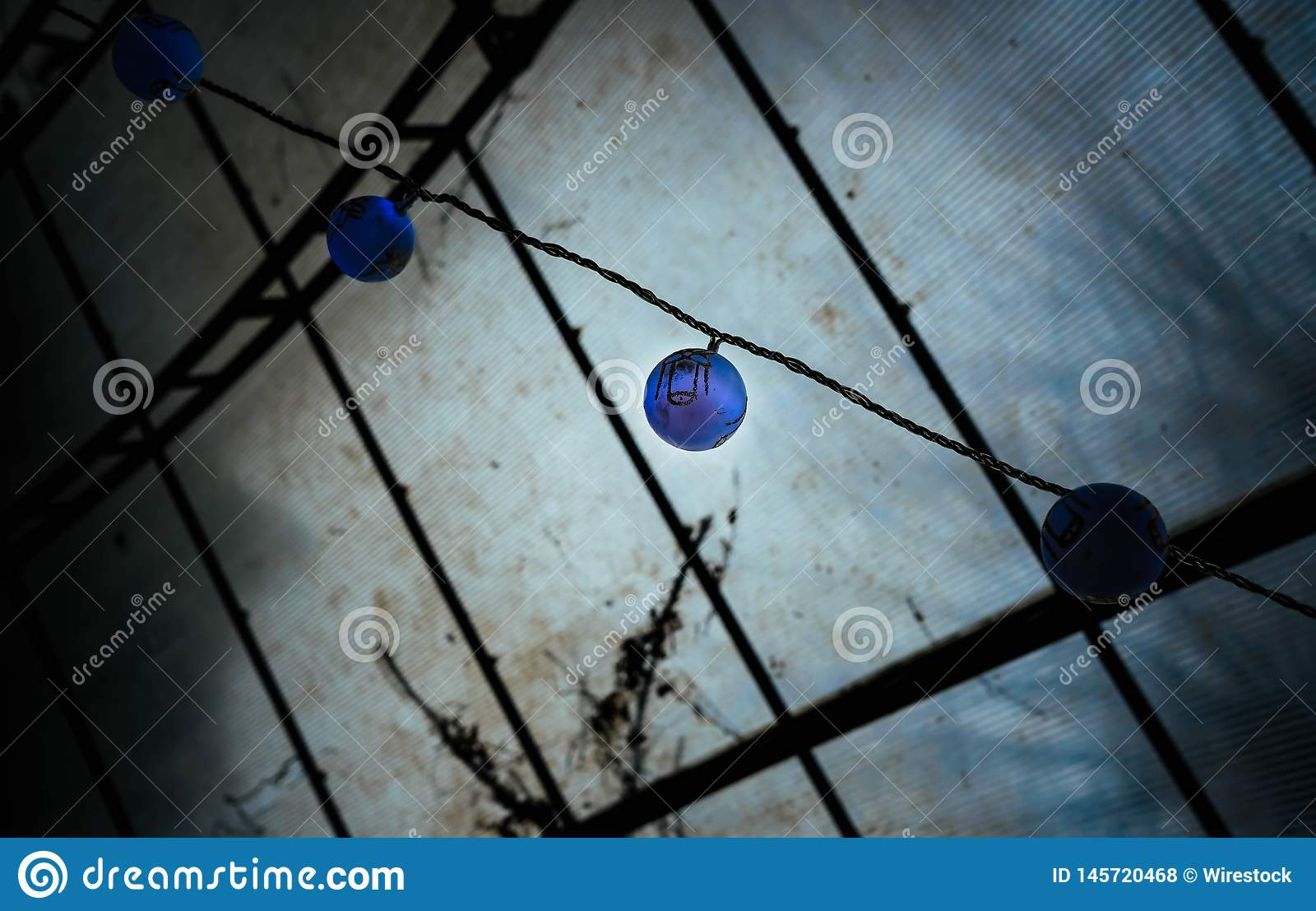 Lámparas asiáticas azules exóticas del estilo