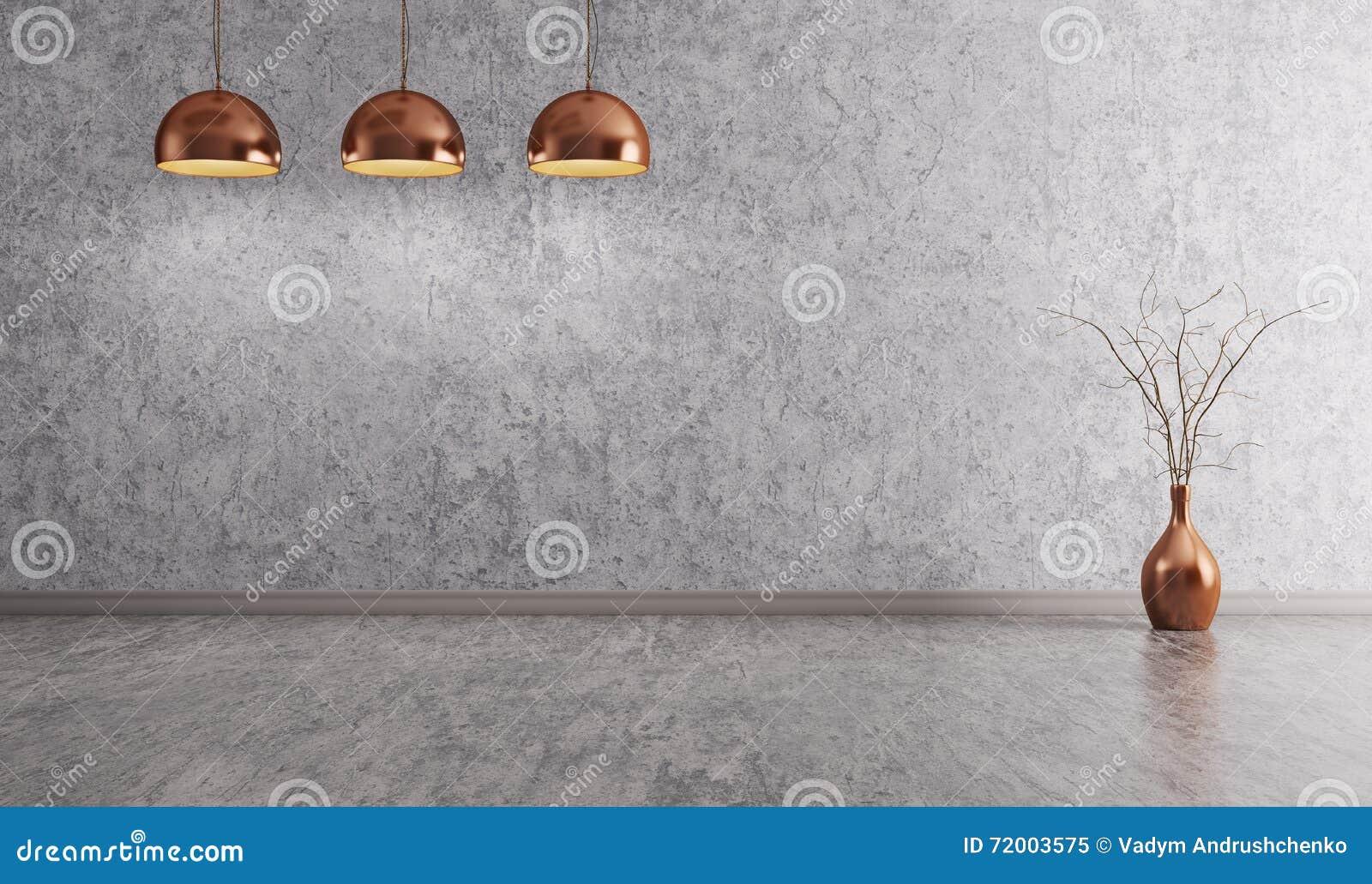 Lámparas de cobre sobre la representación interior del fondo 3d del muro de cemento