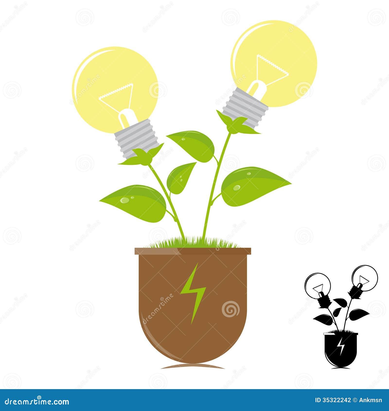 L mparas de la ecolog a en la planta fotograf a de archivo - Lamparas de ambiente ...