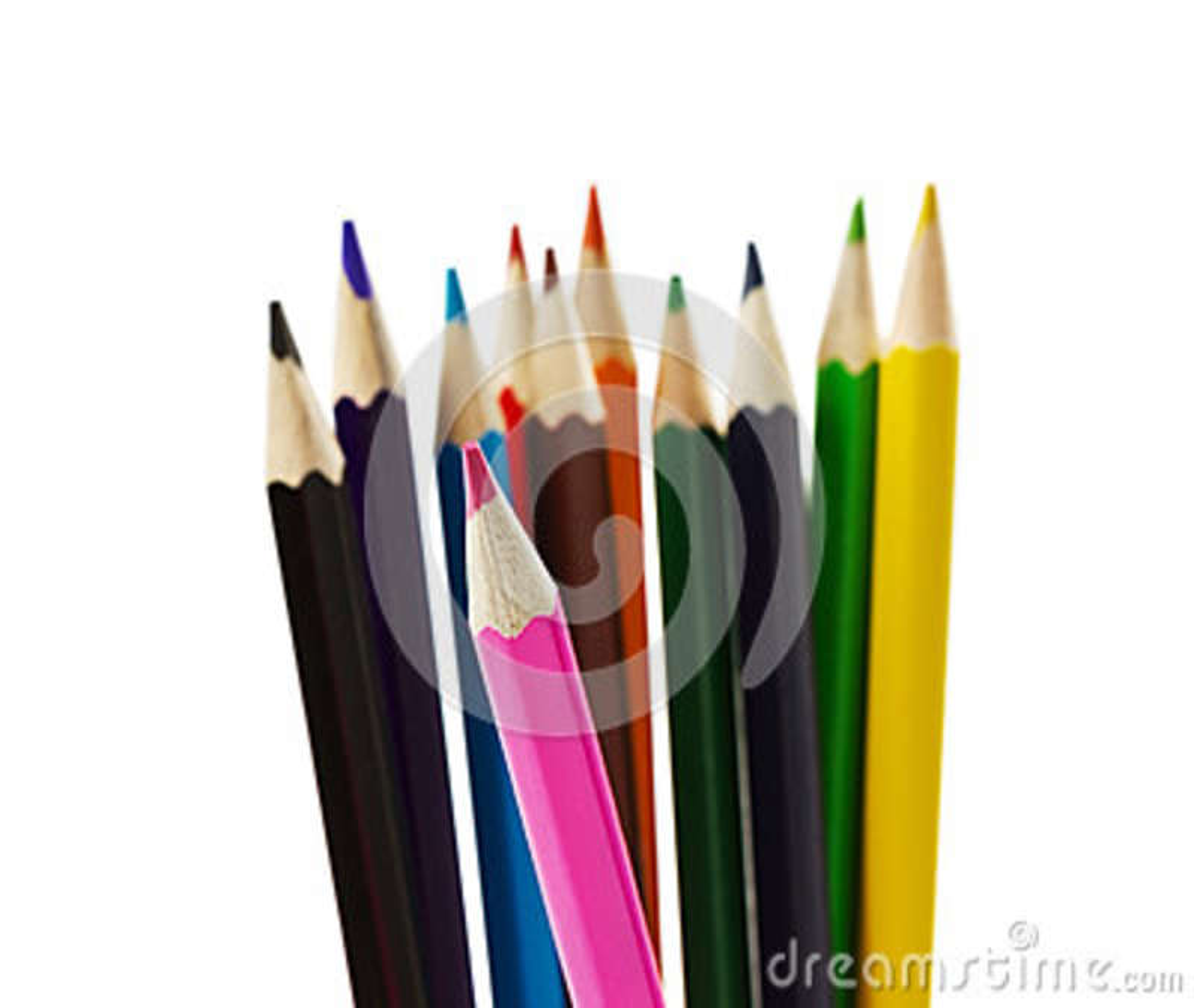 Lápices coloreados aislados en blanco