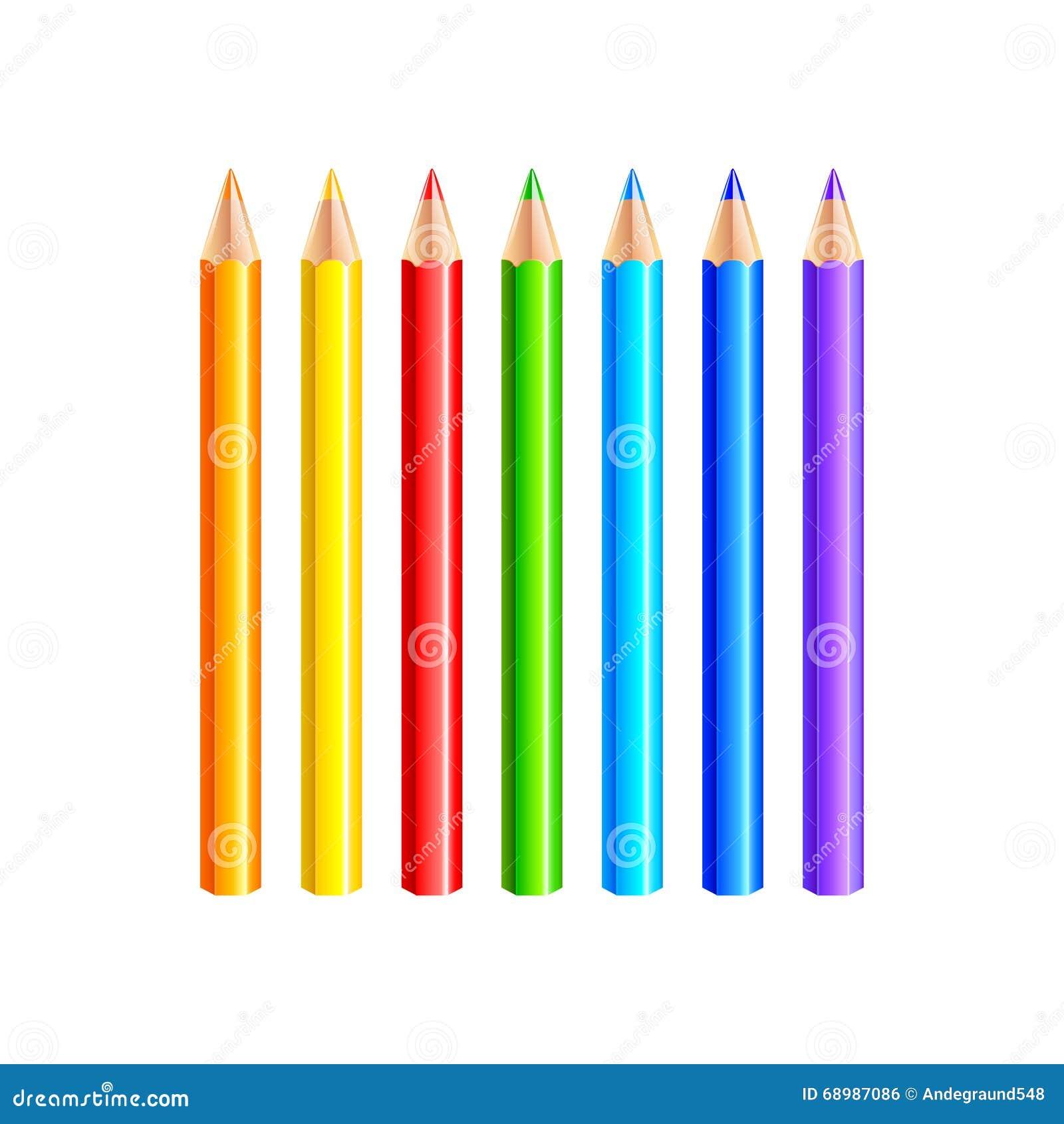 Lápices coloridos en el vector blanco