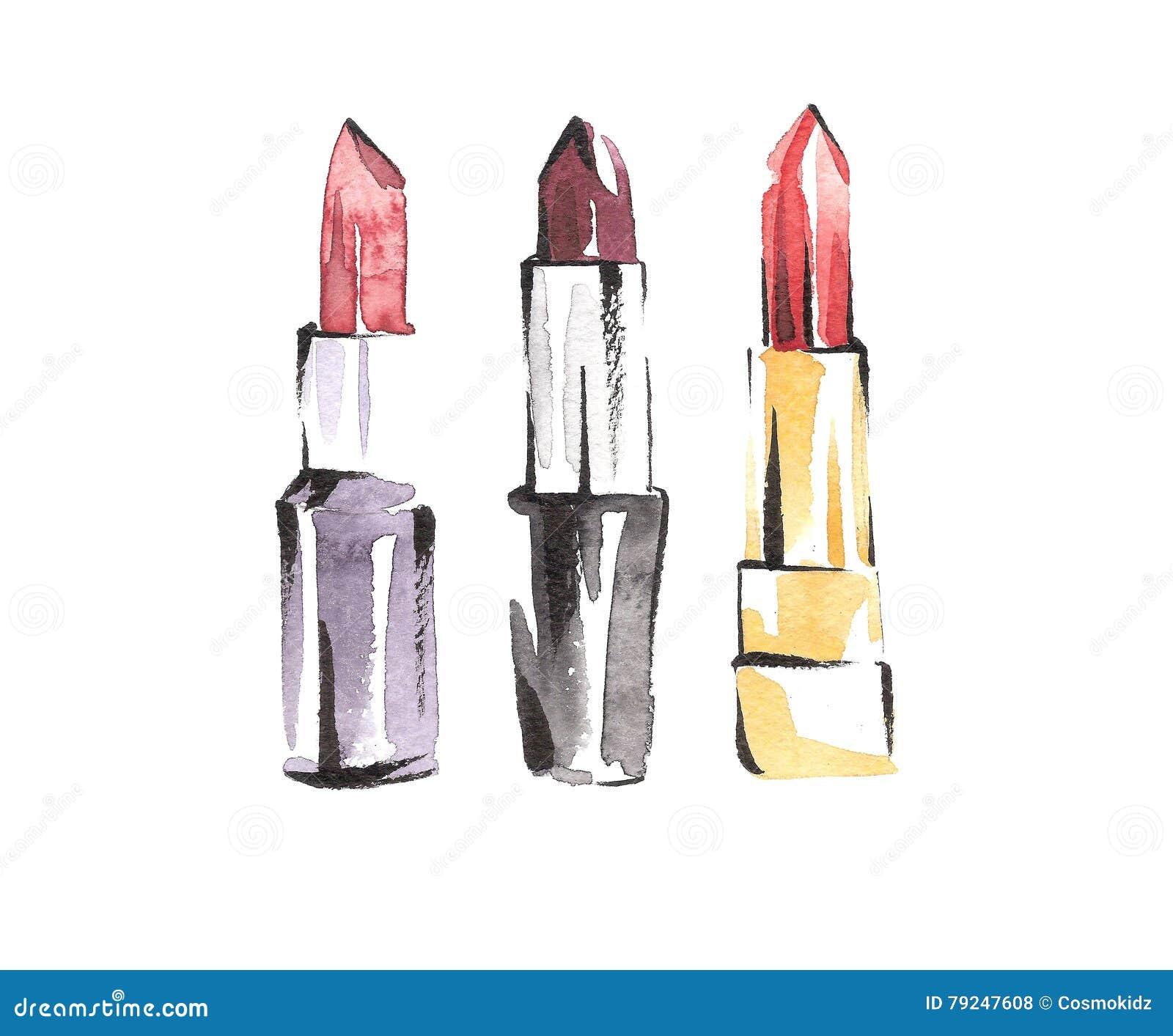 Lápices labiales de la acuarela fijados Bosquejos del maquillaje de la moda Estilo de Vogue Belleza y ejemplo del cosmético