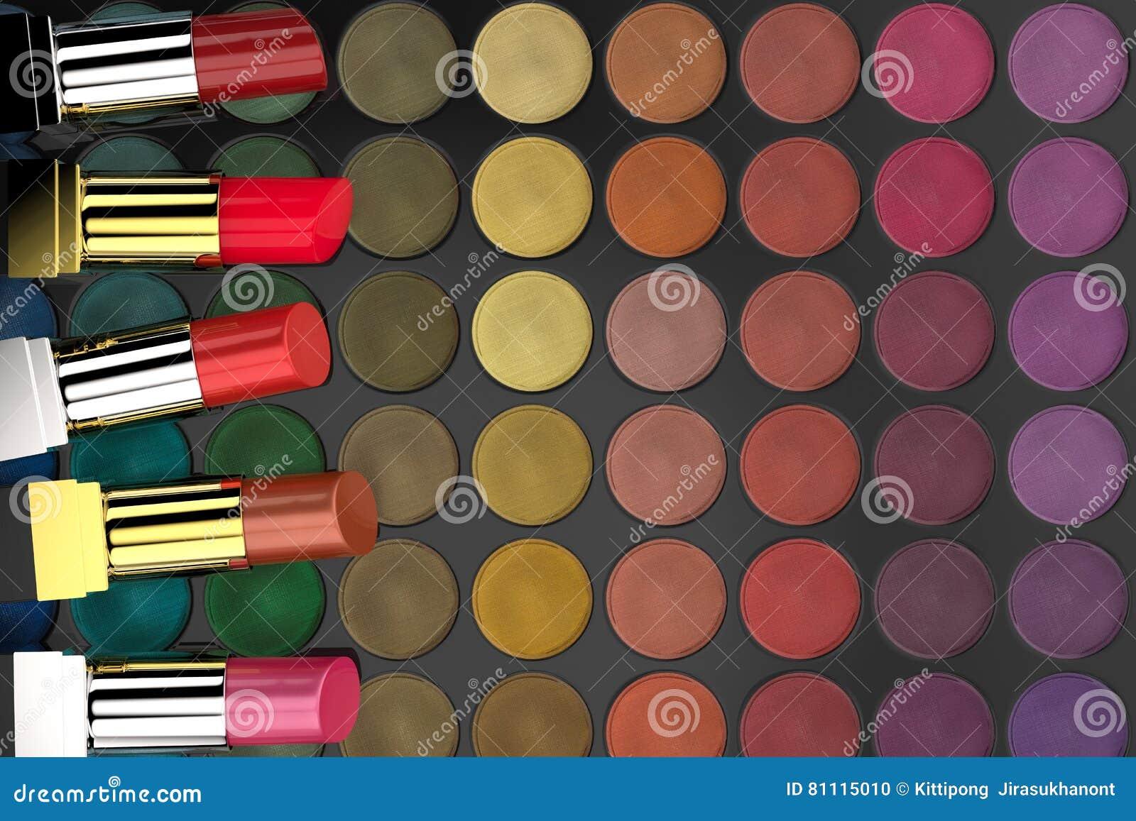 Lápices labiales en la paleta de la sombra de ojos