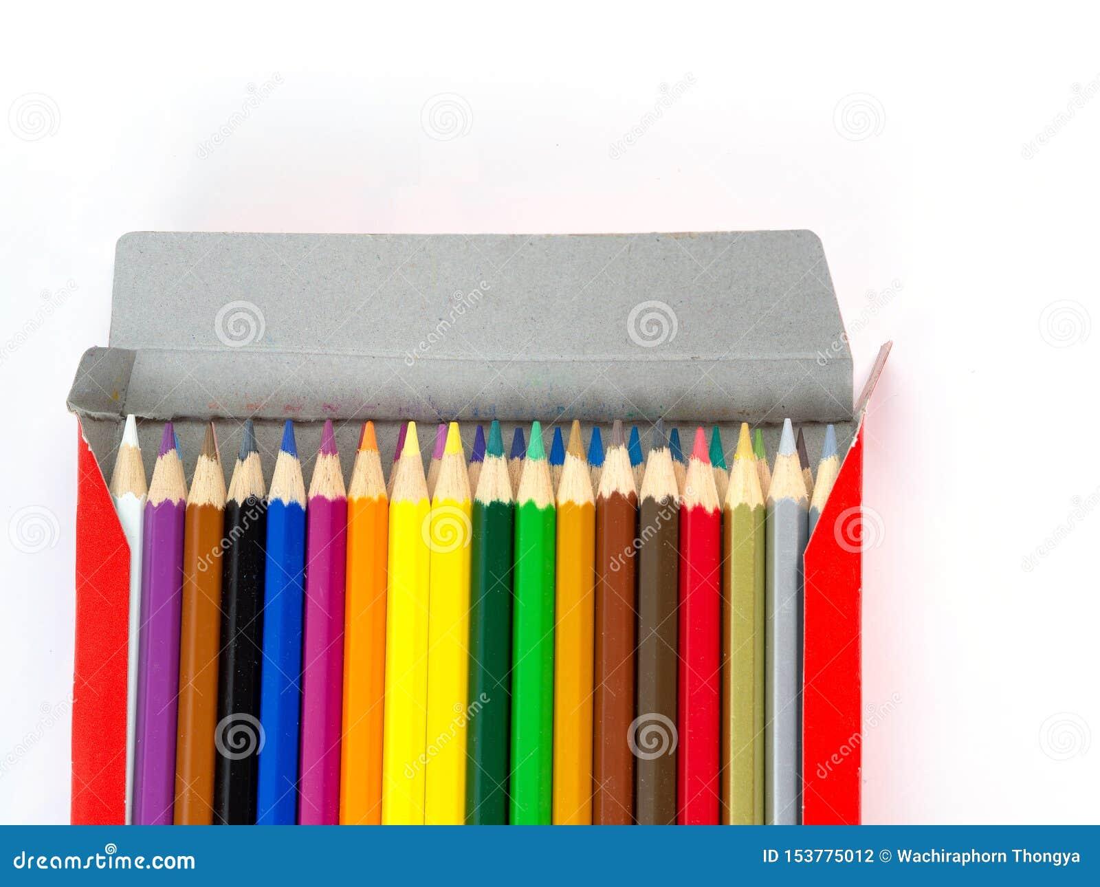 Lápices multicolores con el espacio libre para el texto en el fondo blanco, lápices del color en la caja aislada