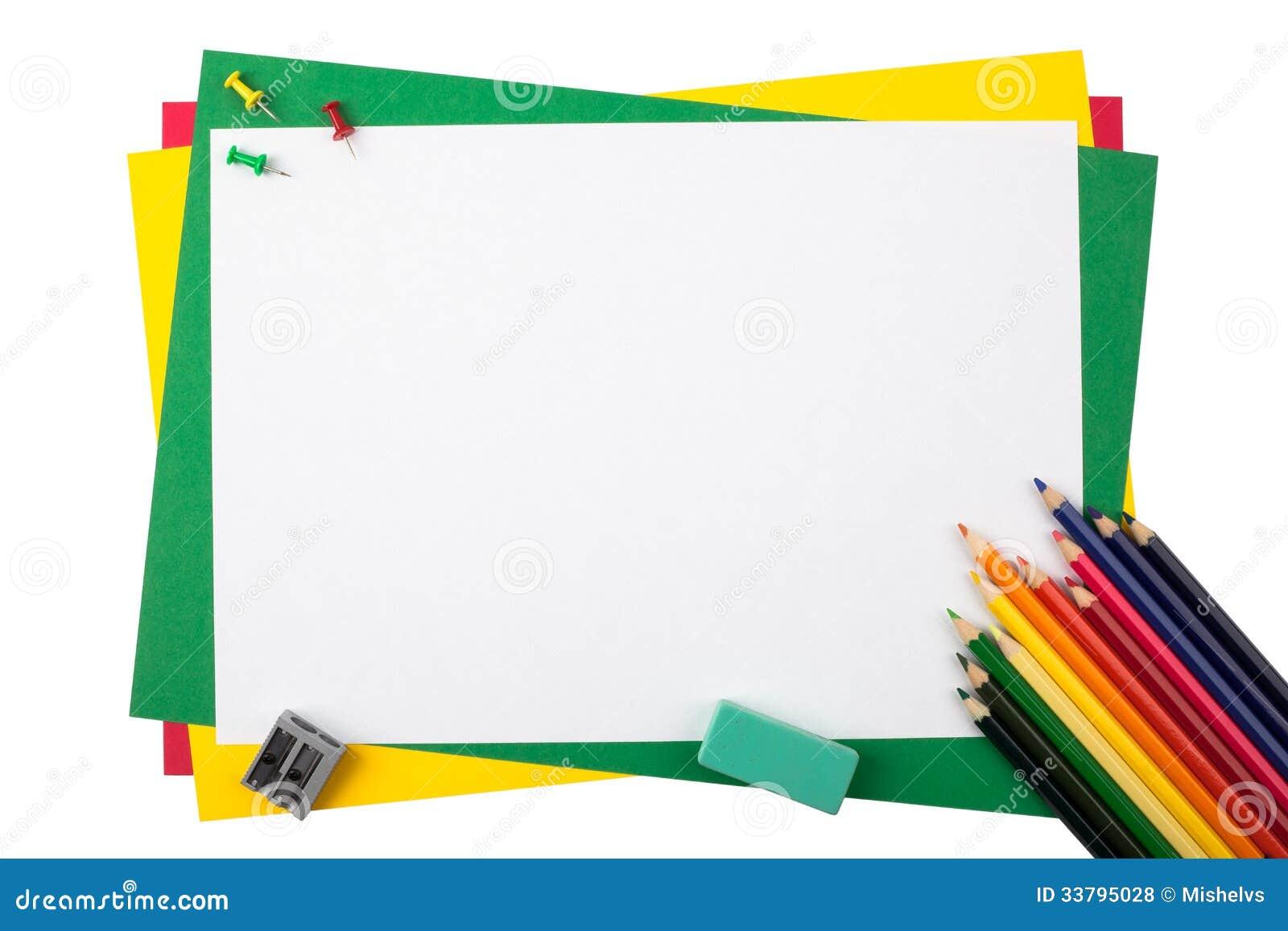 Lápices Multicolores En Un Marco Del Papel Coloreado Foto de archivo ...