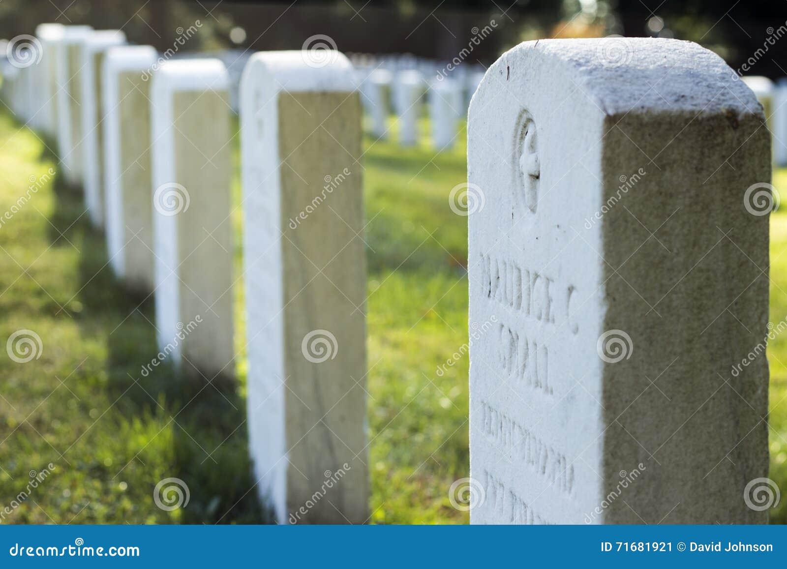 Lápides de soldados da guerra civil no cemitério nacional de Gettysburg
