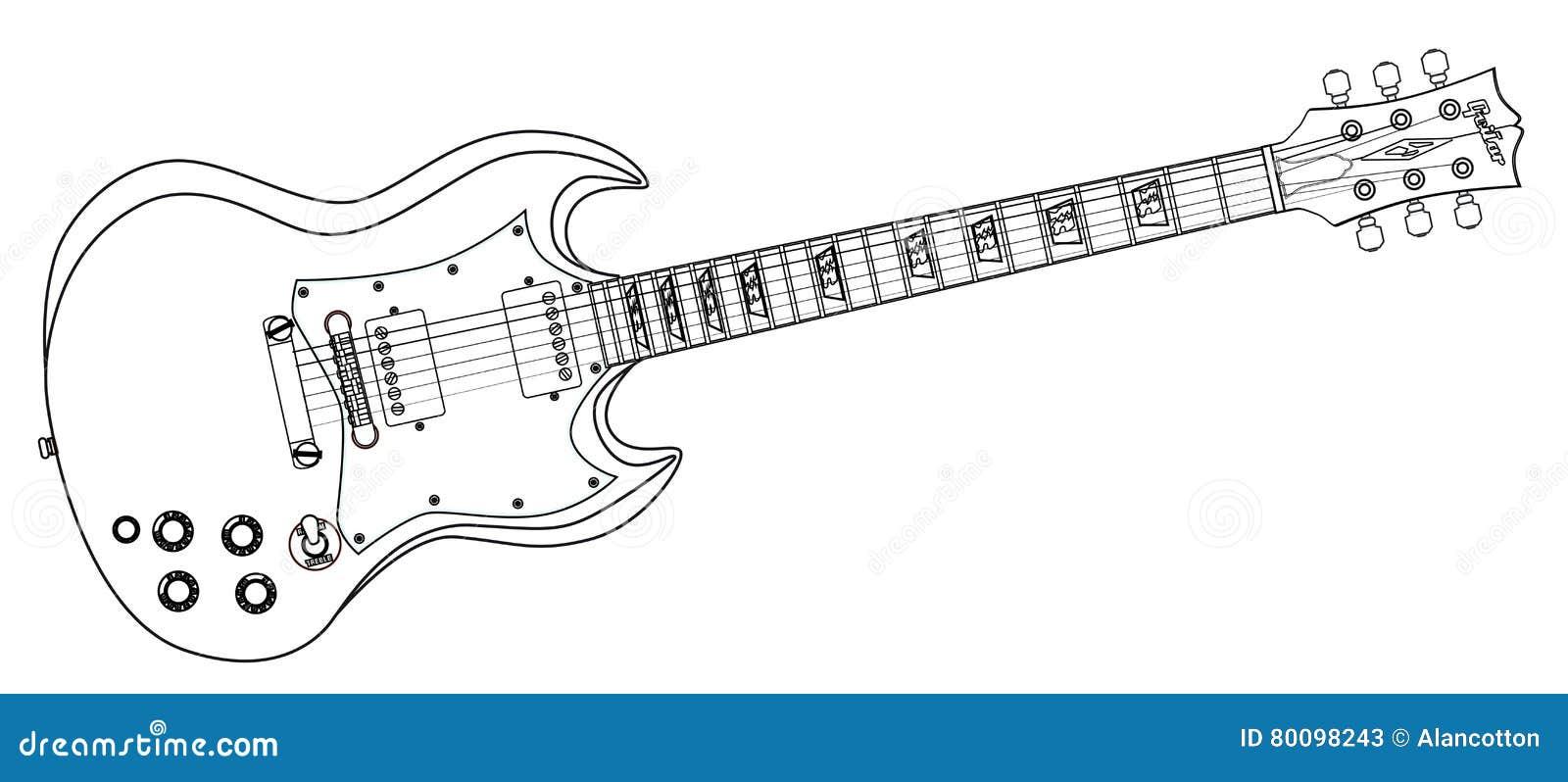 A Lapis Continuo Desenho Da Guitarra Ilustracao Do Vetor