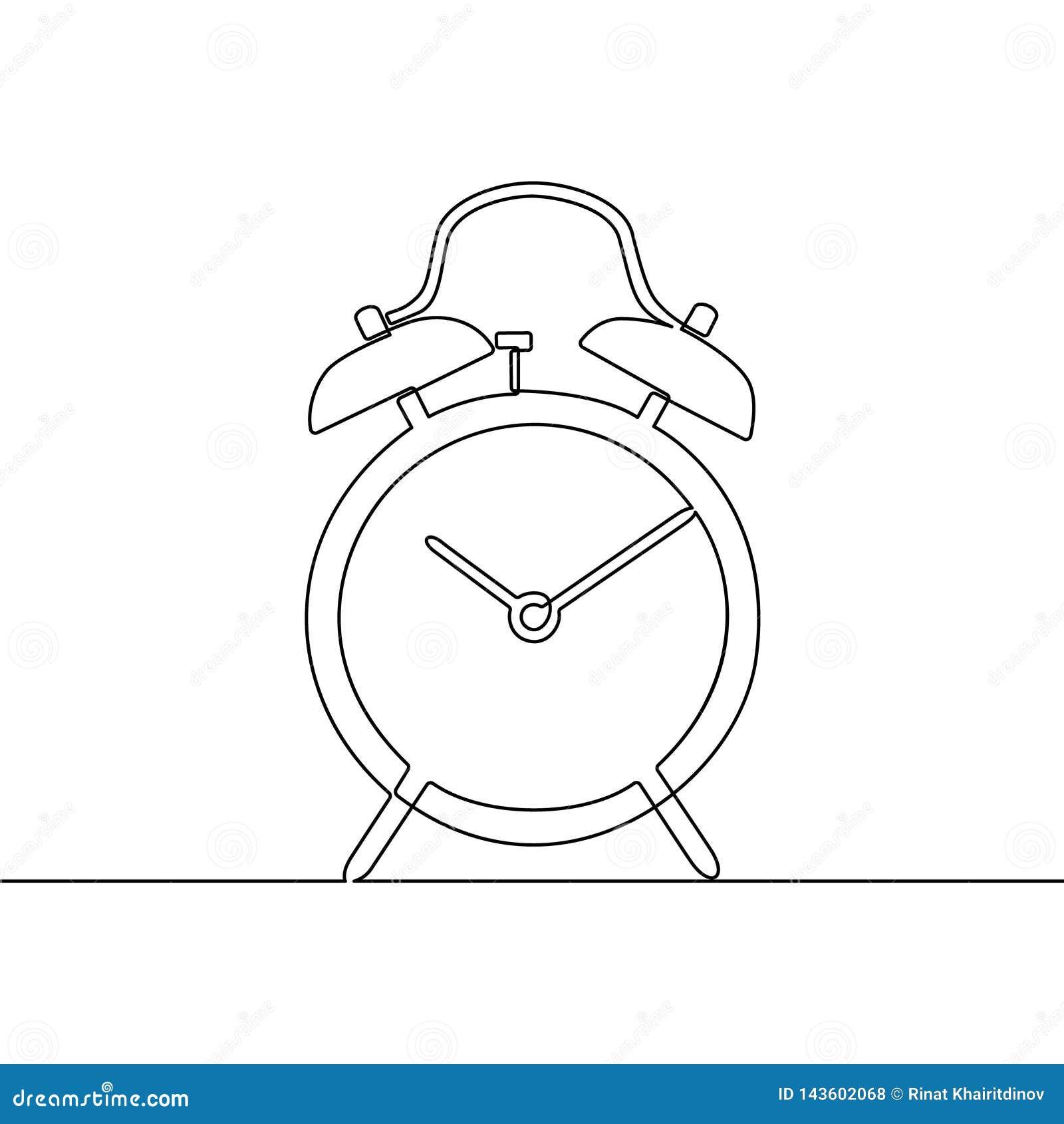 A lápis contínuo desenho do despertador um Ilustra??o preto e branco do vetor