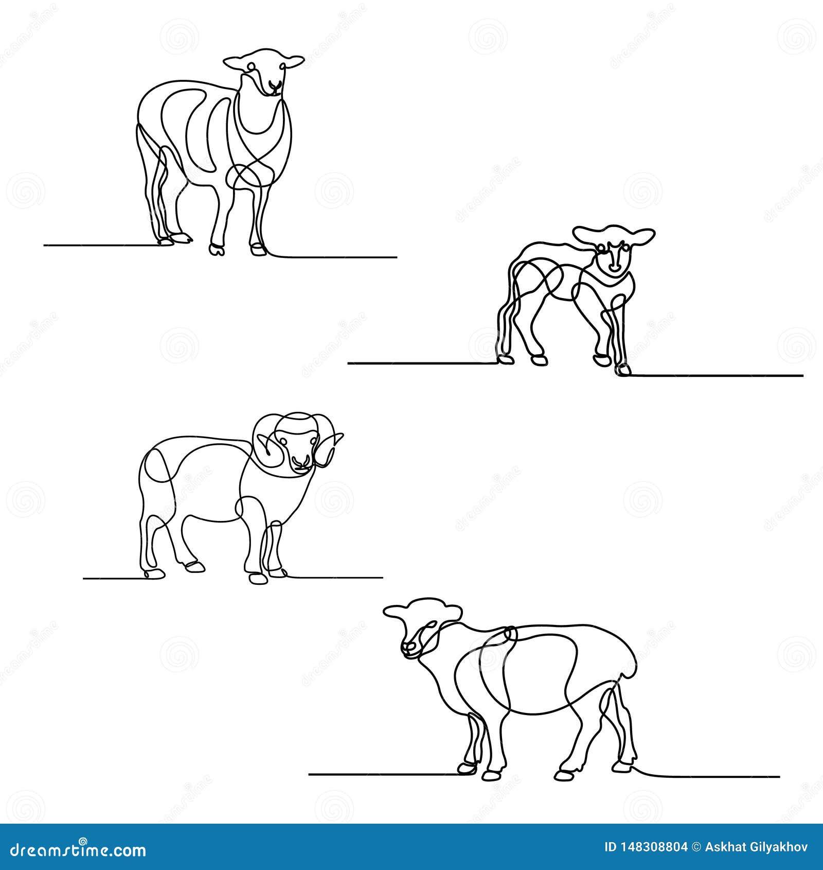 A lápis contínuo grupo do desenho dos carneiros Elementos do projeto por feriados islâmicos Ilustra??o do vetor