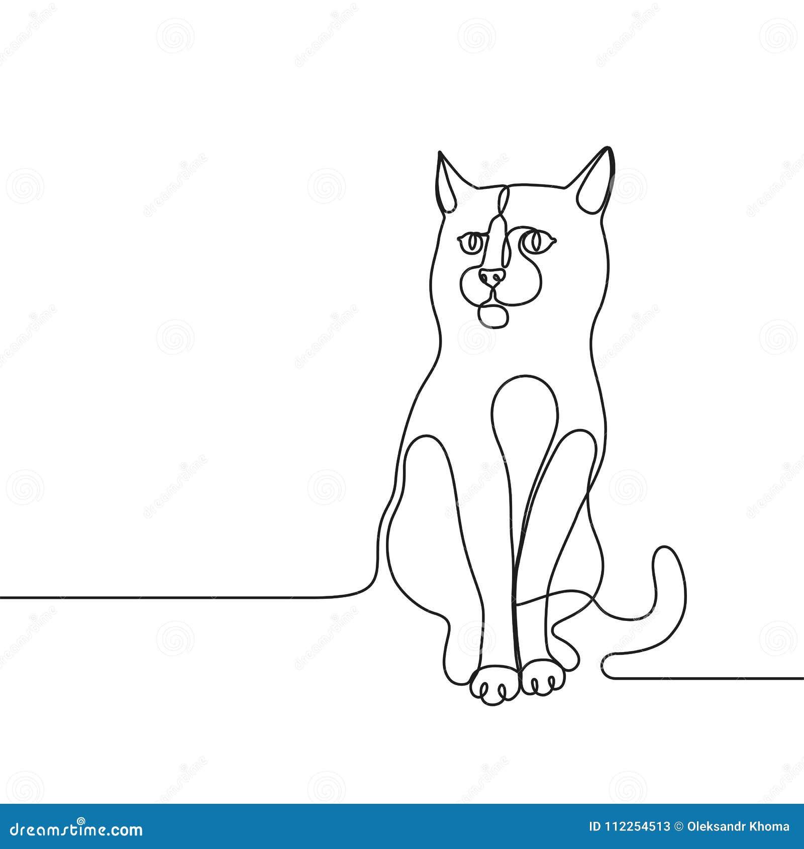 A lápis contínuo linha conceito do gato do desenho única