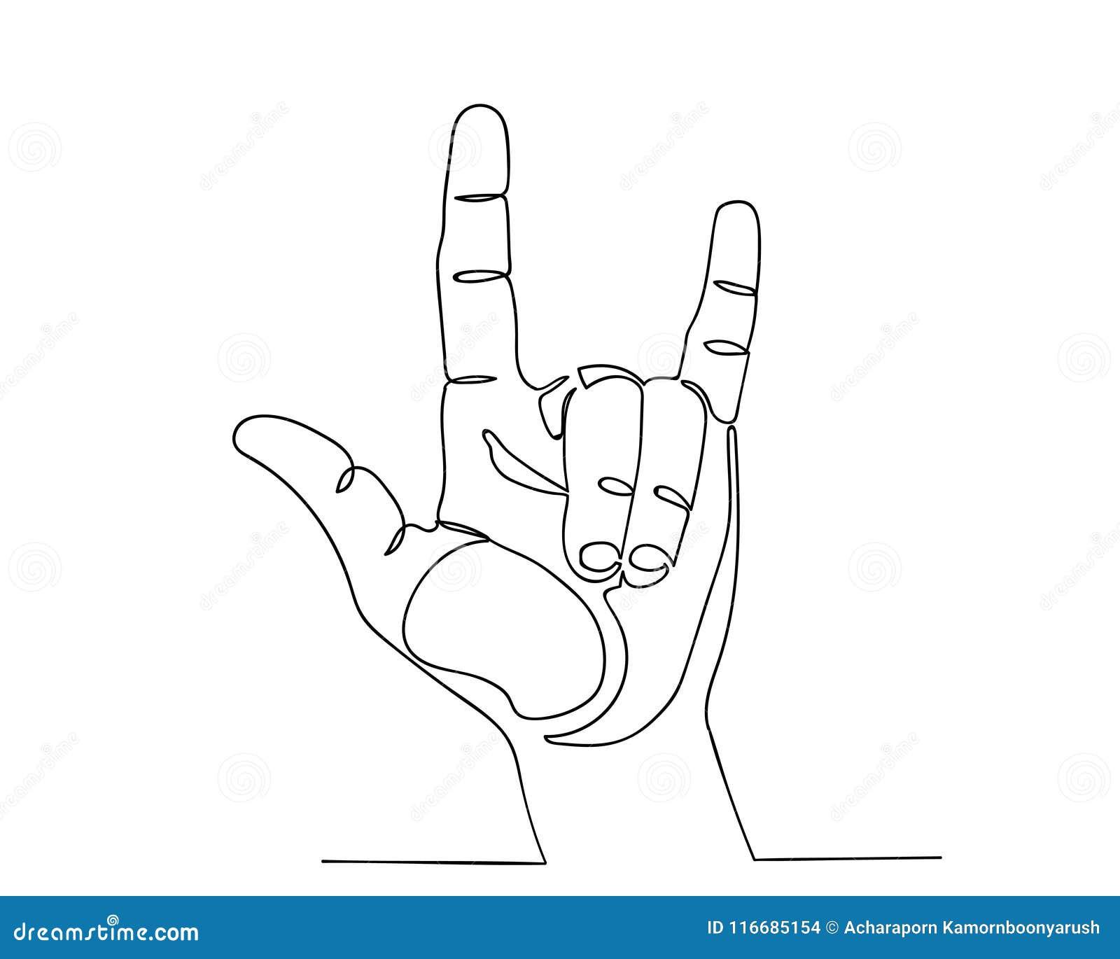 A Lápis Contínuo Mão Do Desenho Com Eu Te Amo Sinal Ilustração Stock
