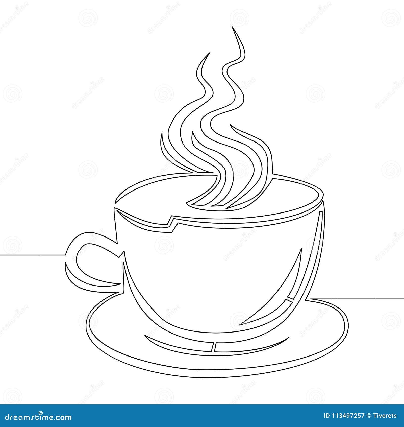 a lápis contínuo vetor da xícara de café do desenho ilustração do