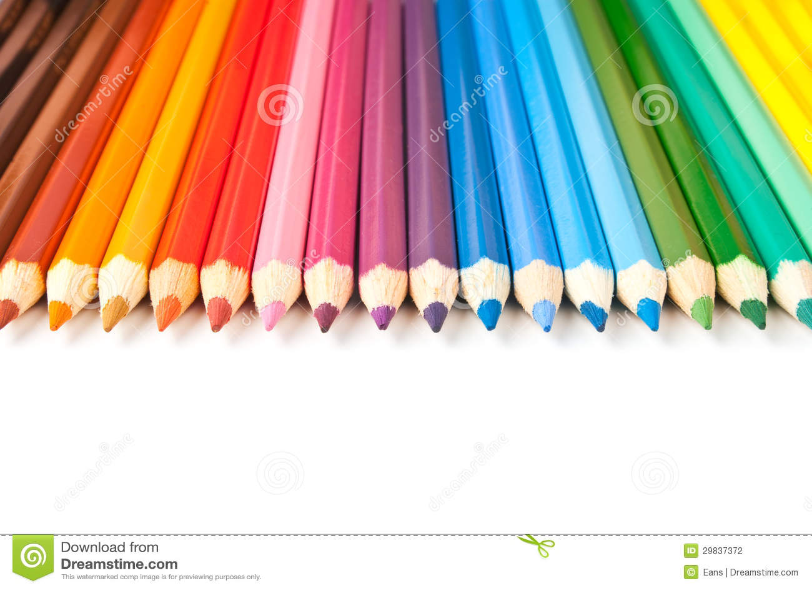 Lápis da cor na fileira