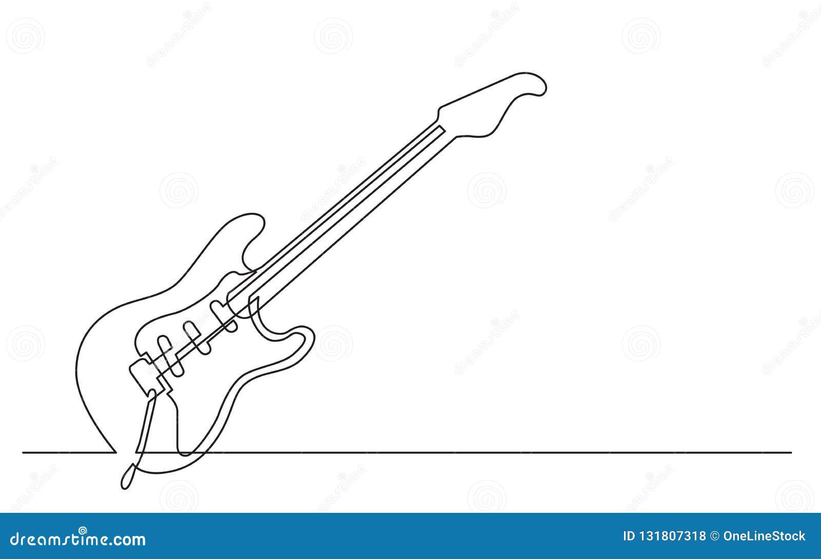 A lápis desenho contínuo da guitarra elétrica com os três únicos recolhimentos e vibrações da bobina