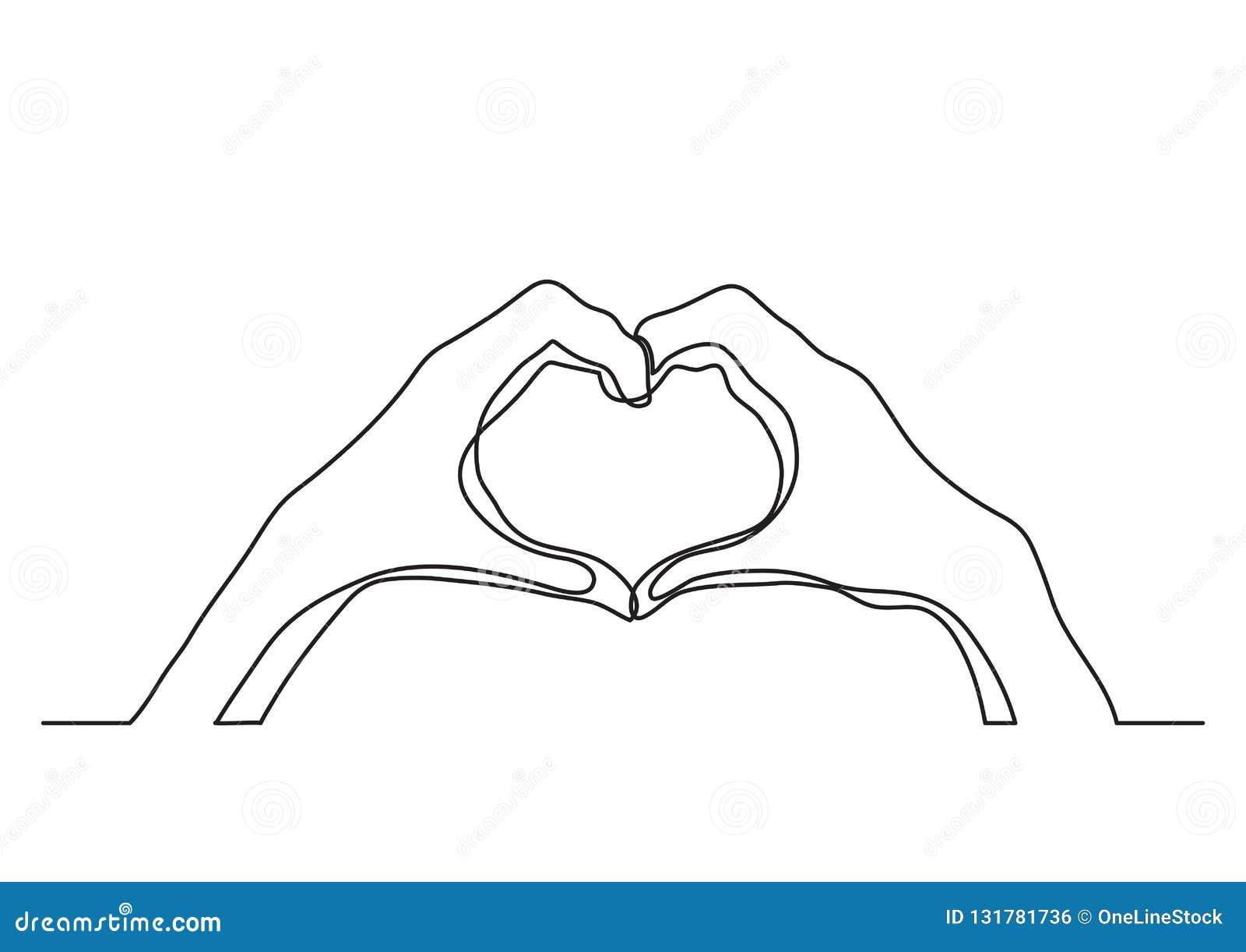 A lápis desenho contínuo das mãos que mostram o sinal do amor