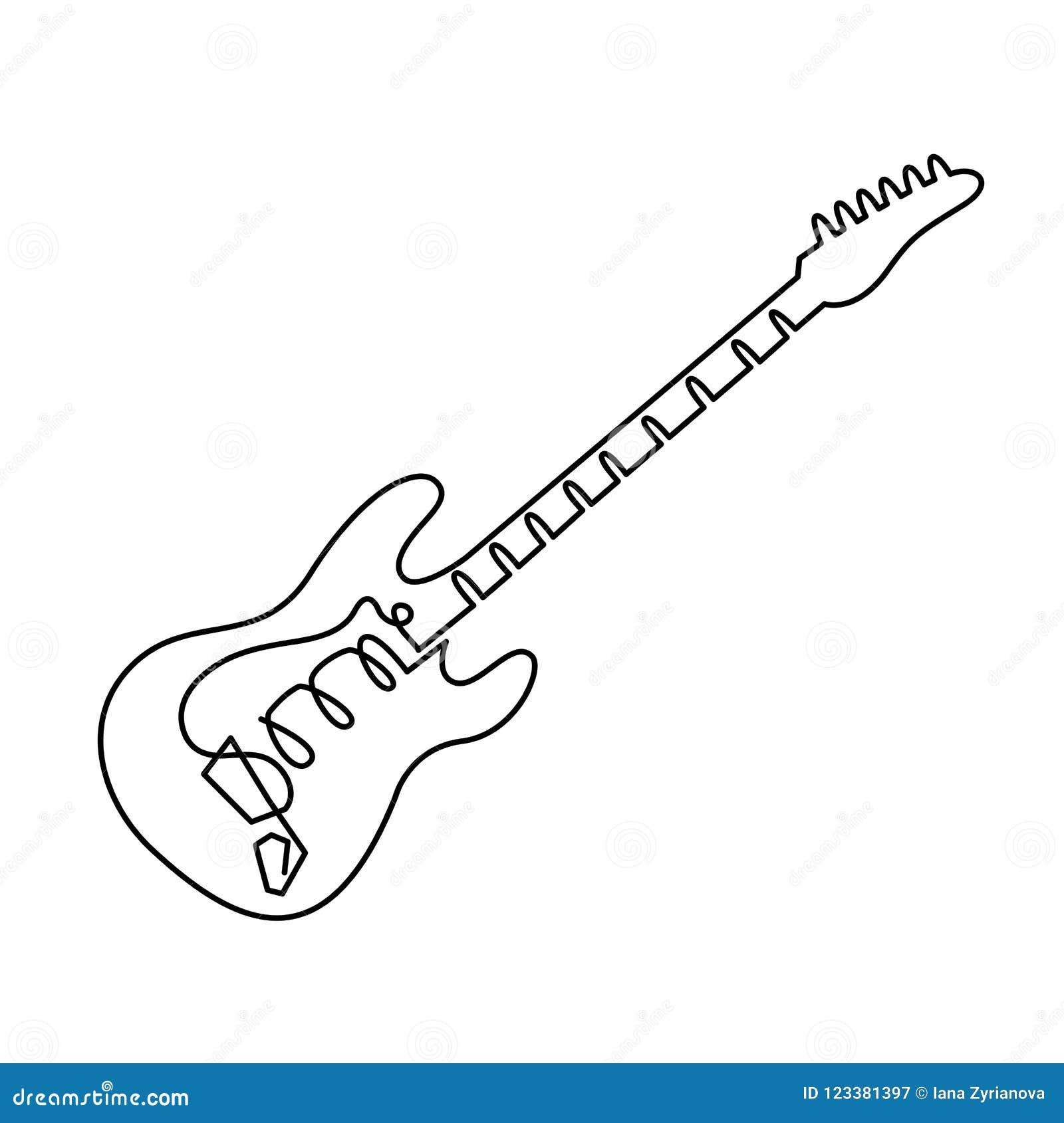 A Lapis Desenho Continuo Do Icone Da Guitarra Eletrica Esboce O