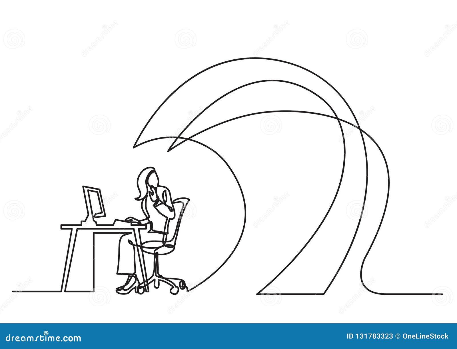 A lápis desenho contínuo do conceito do negócio - trabalhador de escritório sob ondas do trabalho
