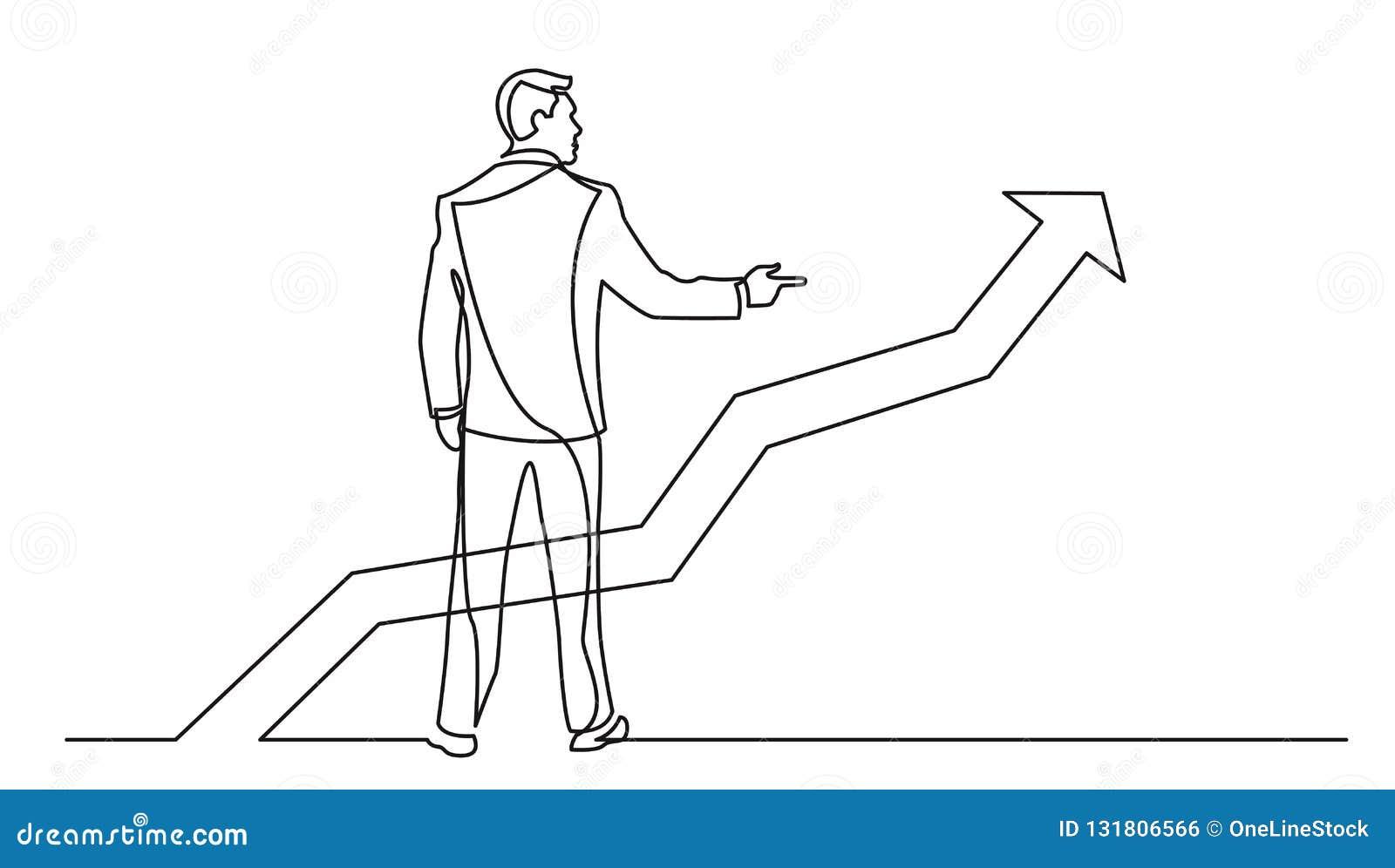 A lápis desenho contínuo do homem de negócios estando que aponta o dedo no gráfico crescente