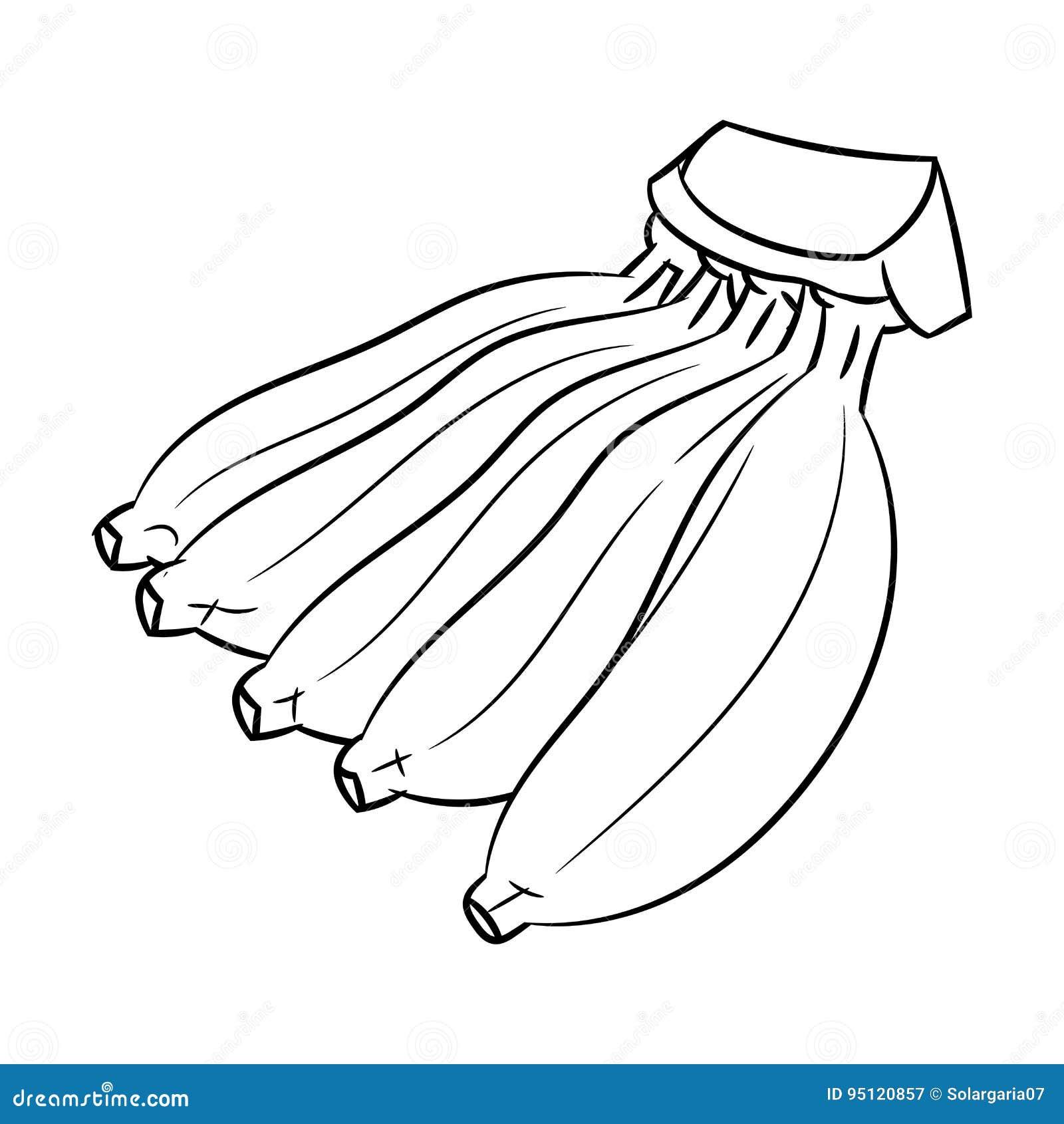 A Lapis Desenho Da Banana Linha Simples Vetor Ilustracao Do