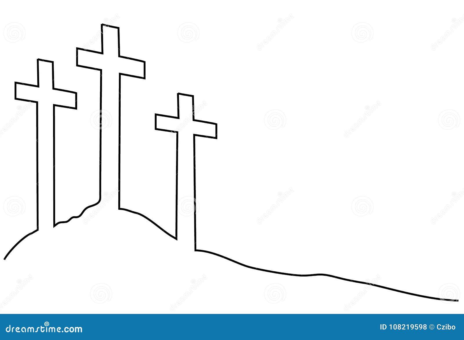 A Lapis Desenho Da Cruz Uma Da Pascoa Ilustracao Do Vetor