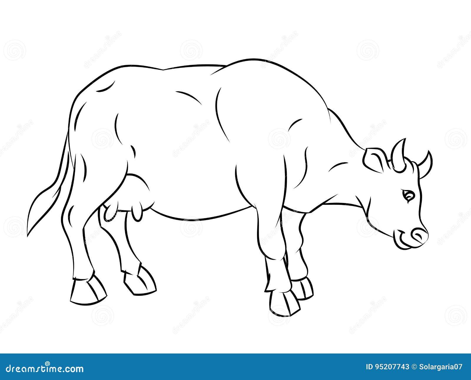 A Lápis Desenho Da Vaca Linha Simples Vetor Ilustração Do