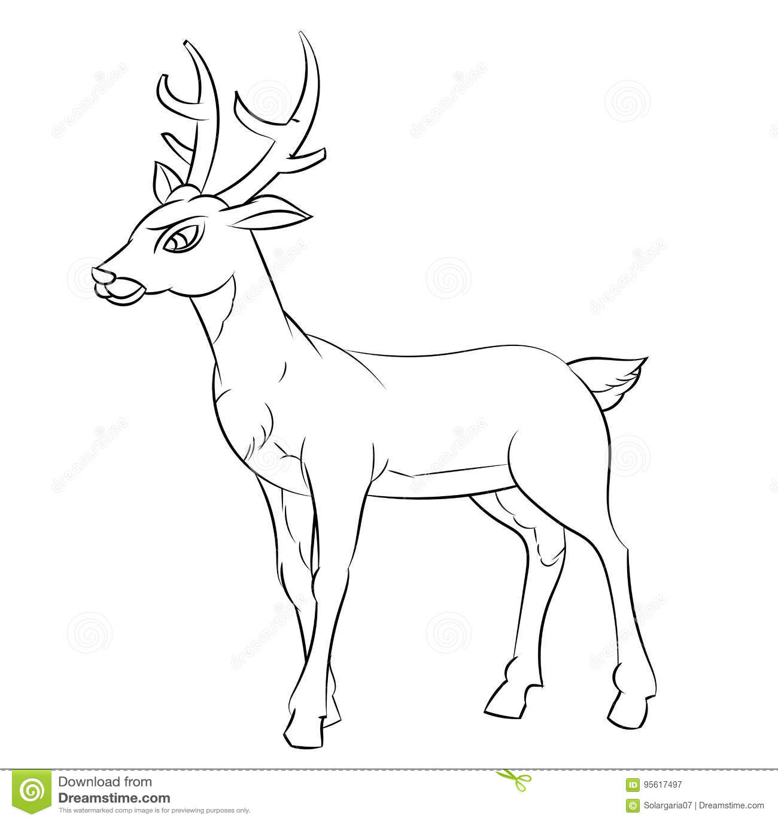 A Lápis Desenho De Desenhos Animados Dos Cervos Linha