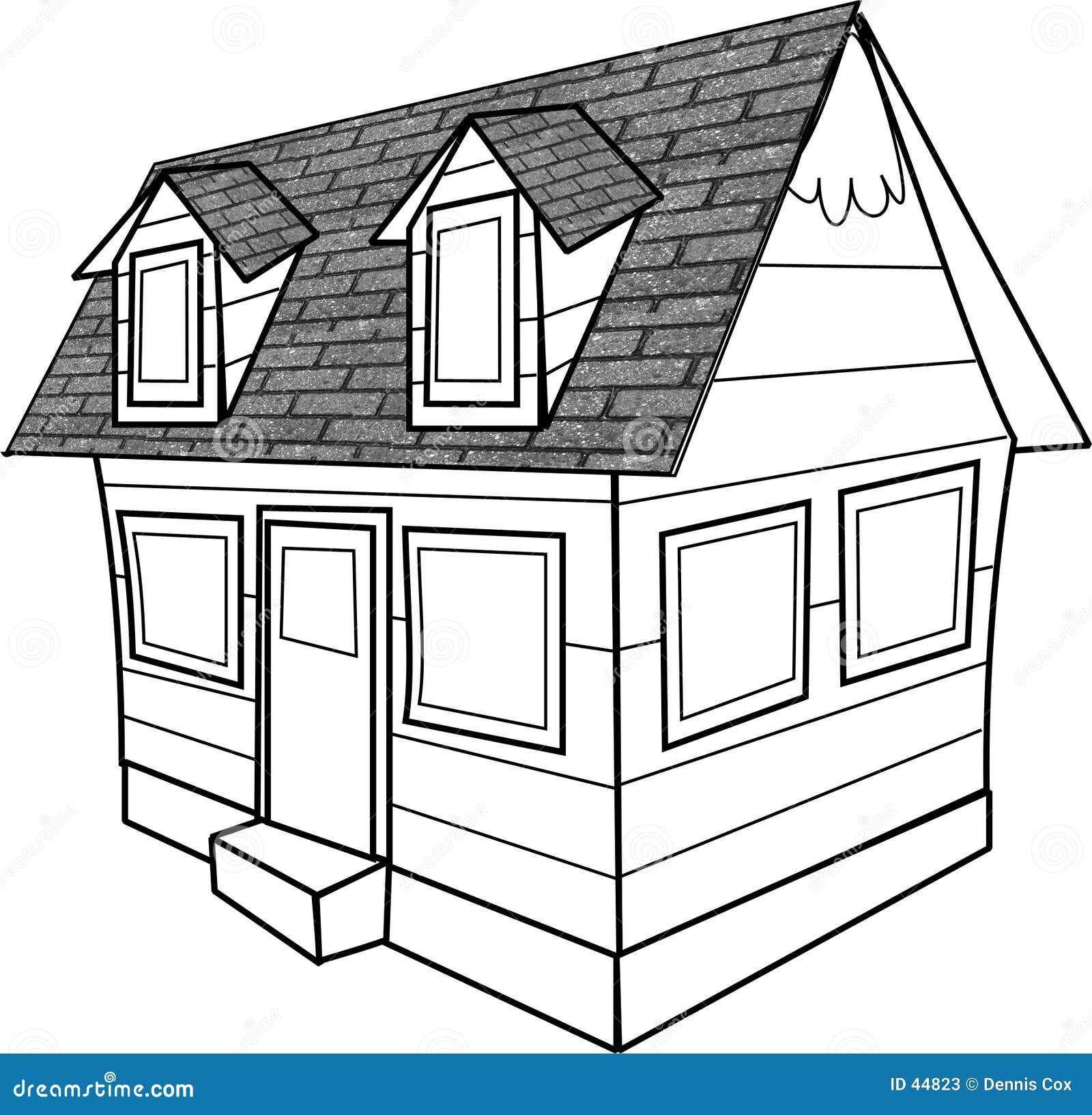 A lápis desenho de uma casa de campo