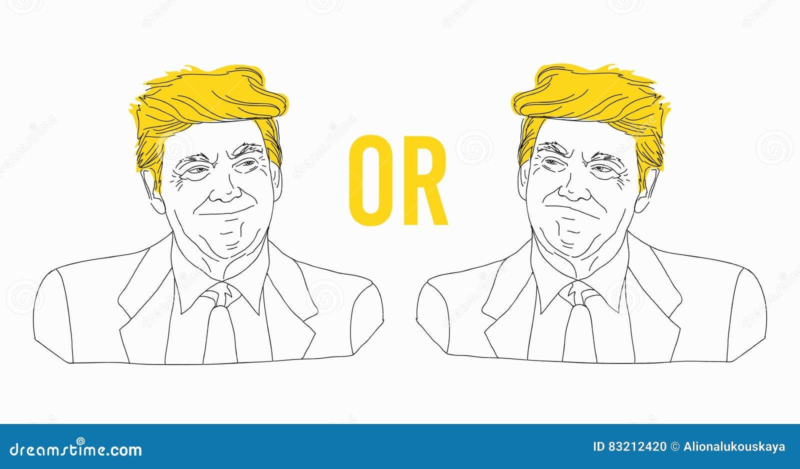 A Lapis Desenho Do Retrato De Donald Trump Esboco Linha Da Lata