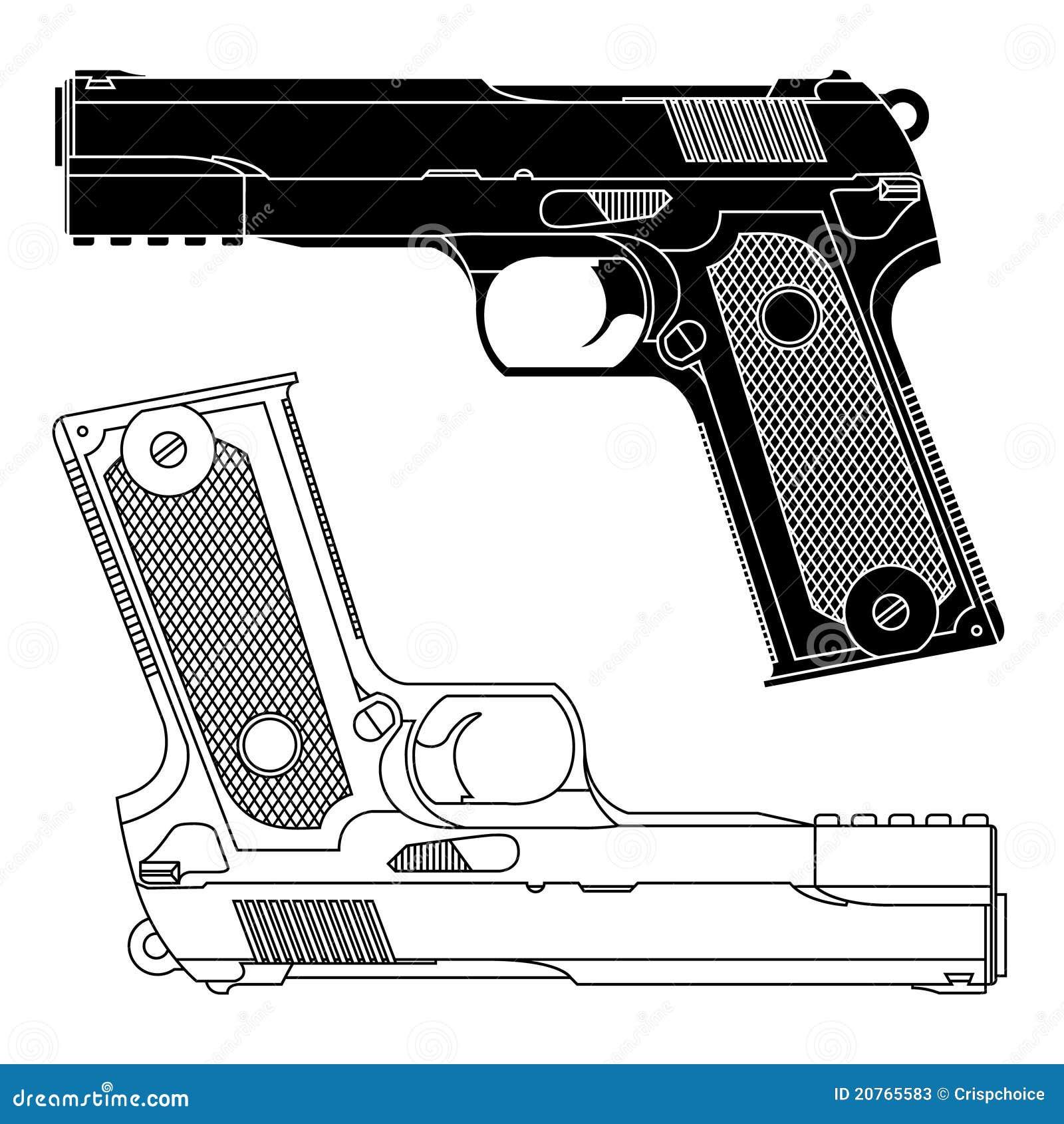 A Lapis Desenho Tecnico Do Injetor Da Pistola De 9mm Ilustracao Do