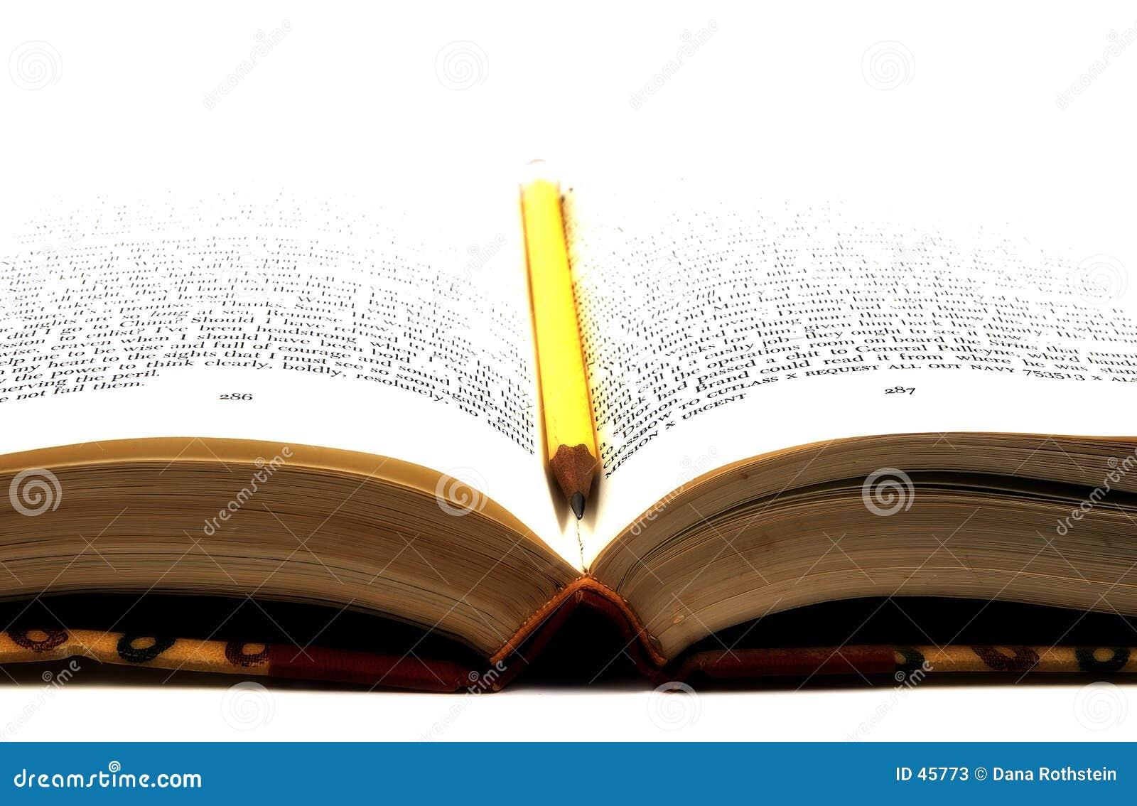 Lápis em um livro