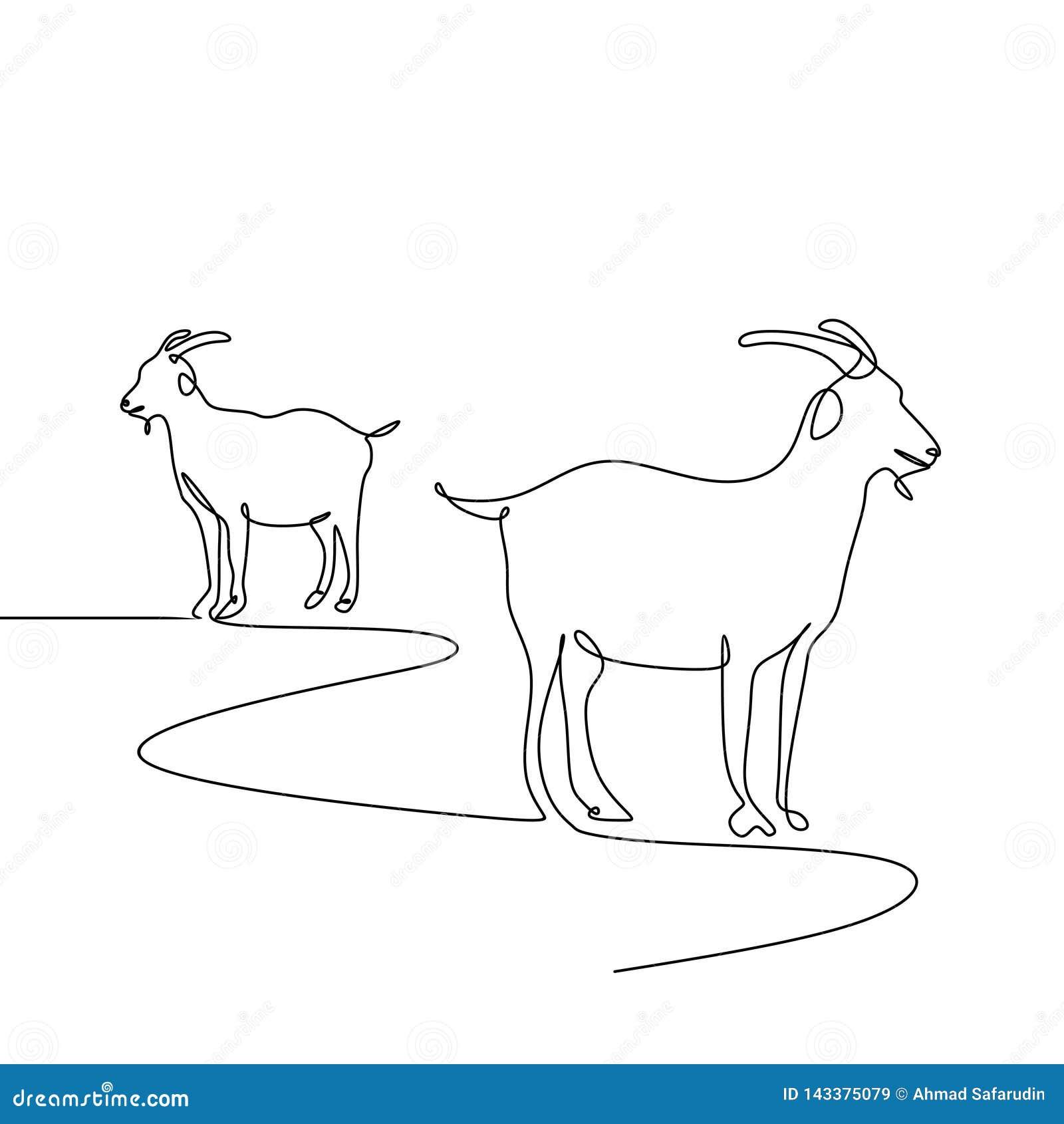 A Lápis Estilo Da Cabra Uma Do Minimalismo Do Desenho