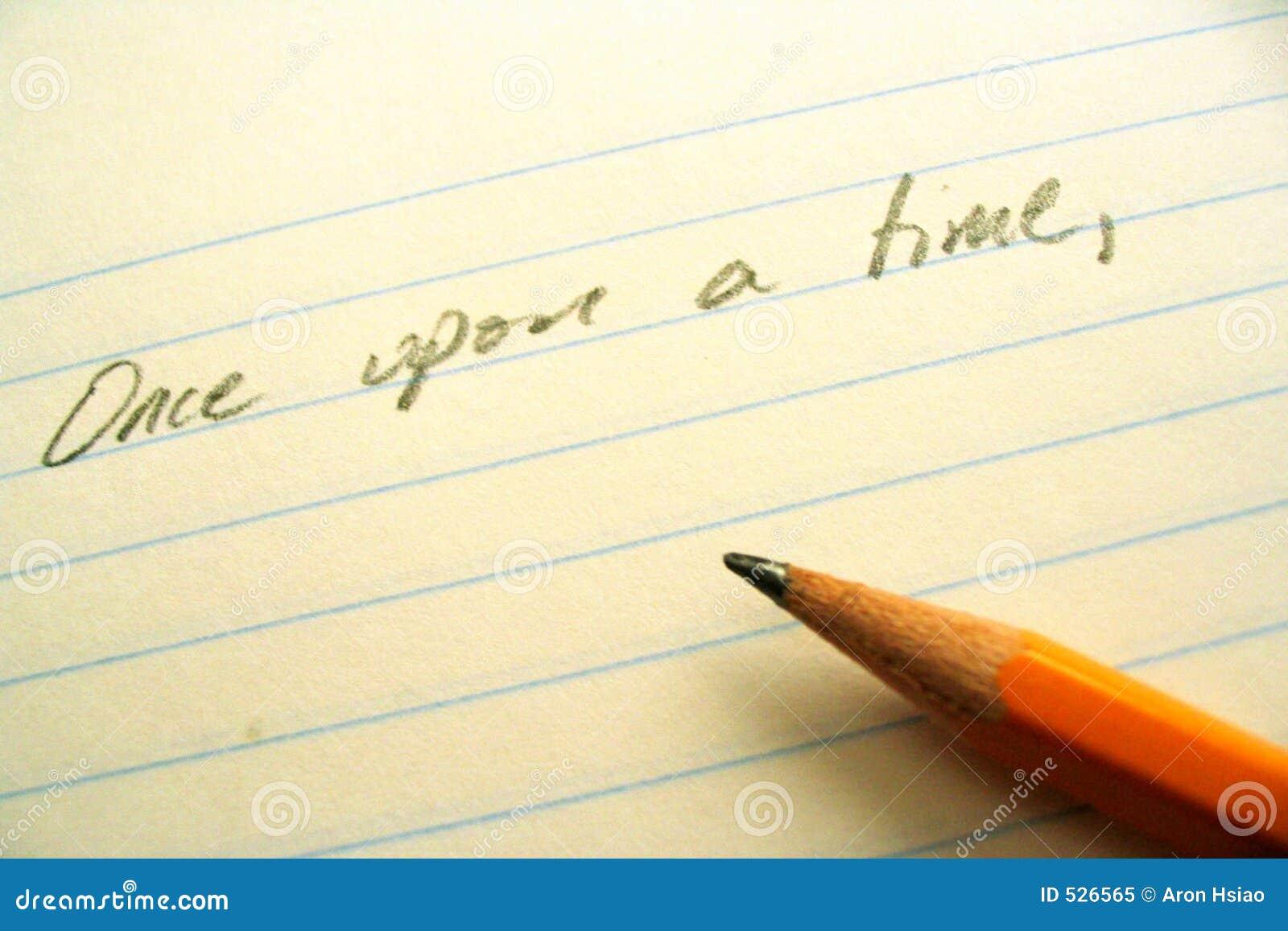 Lápis, papel, e linha de abertura