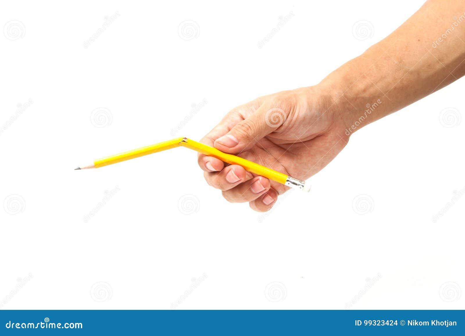 Lápis quebrado no fundo branco
