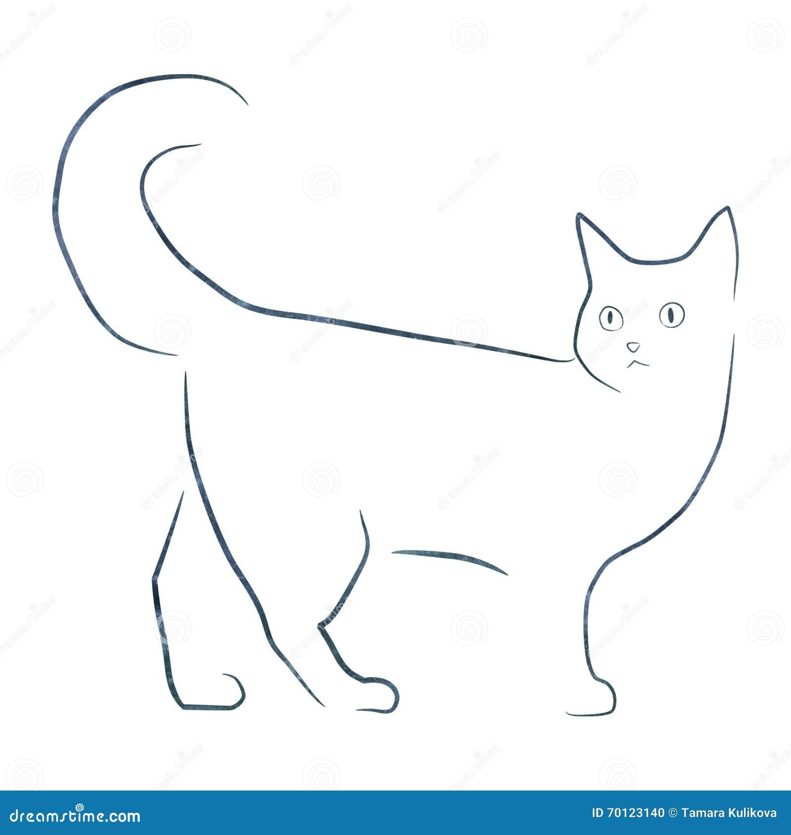 A Lápis Simples Illustartion Do Gato Do Desenho Foto De