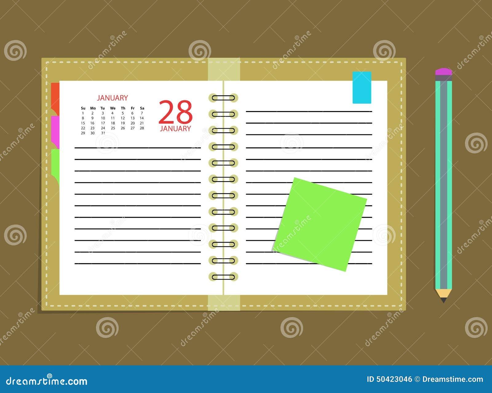 Lápiz del horario del libro de cita del calendario del diario