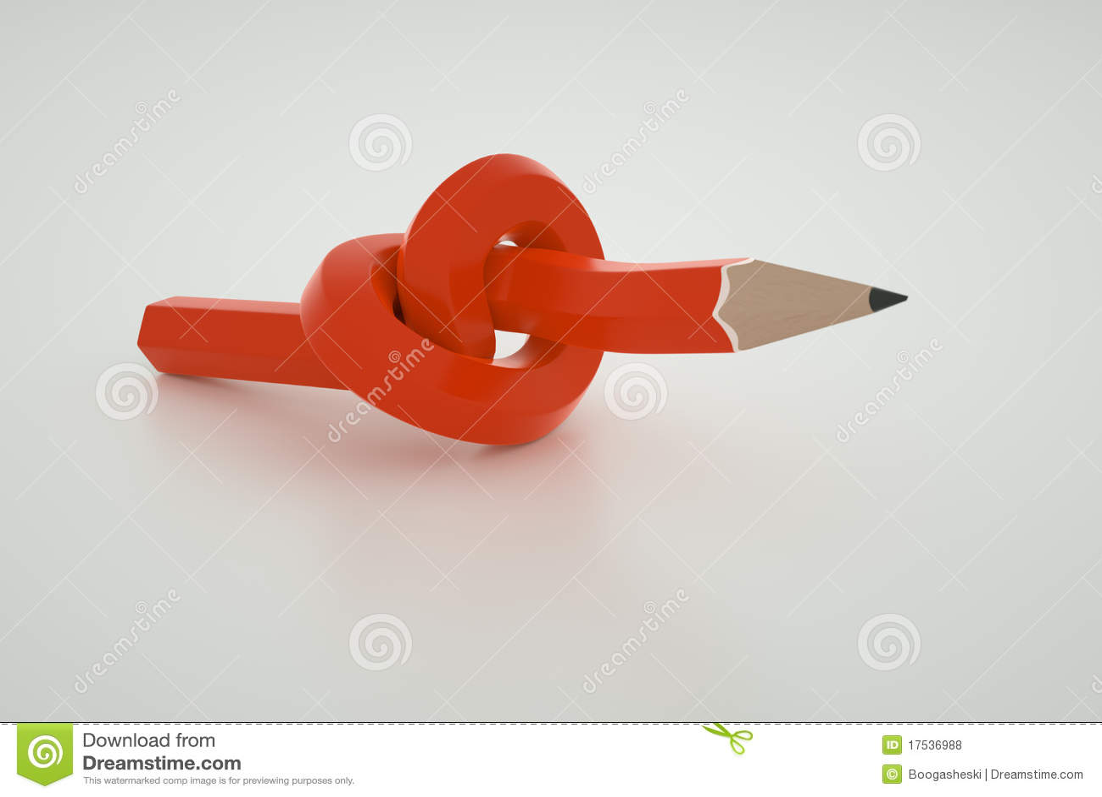 Lápiz rojo anudado
