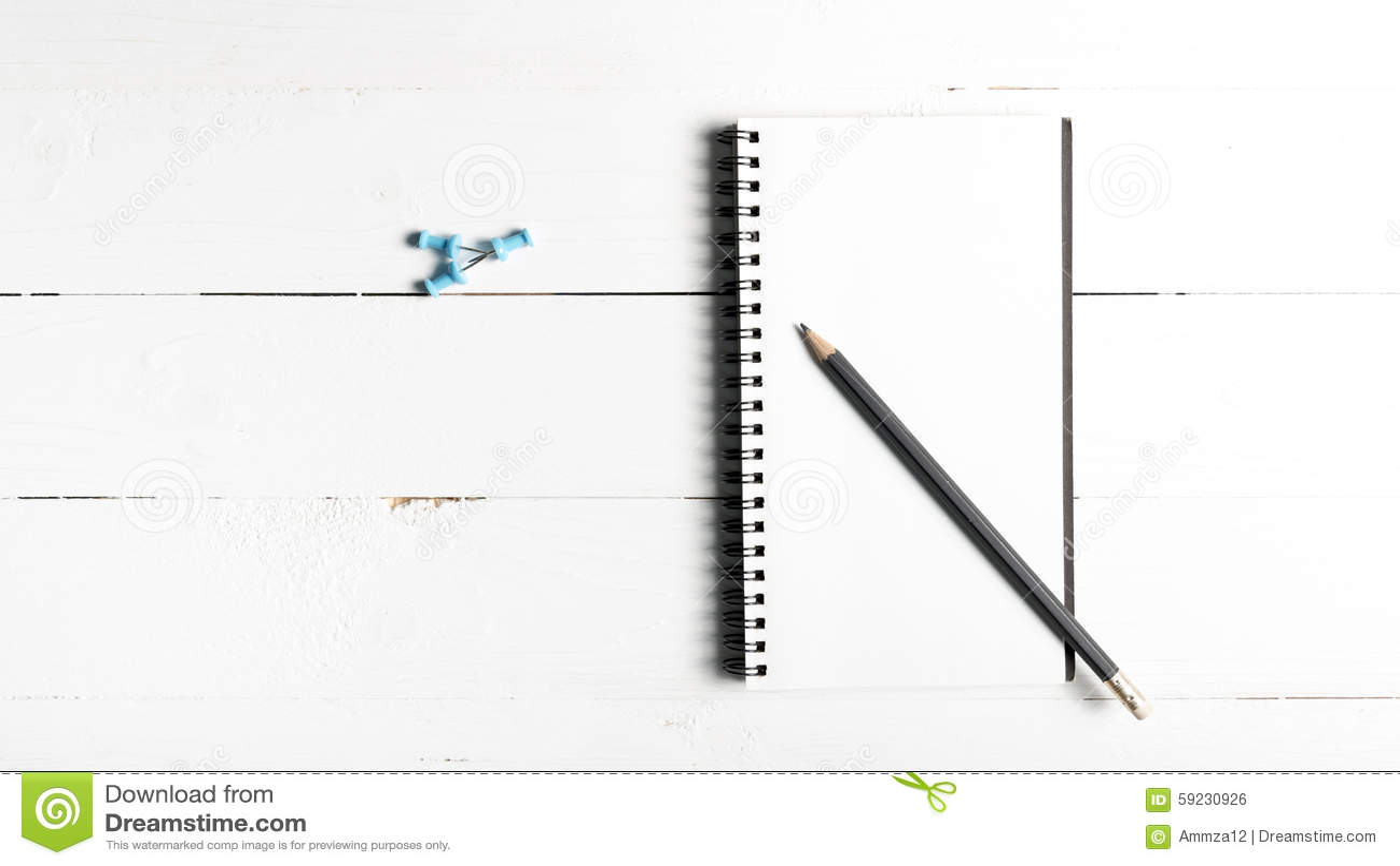 Download Lápiz Y Libreta Con El Perno Del Empuje Foto de archivo - Imagen de cuaderno, pluma: 59230926