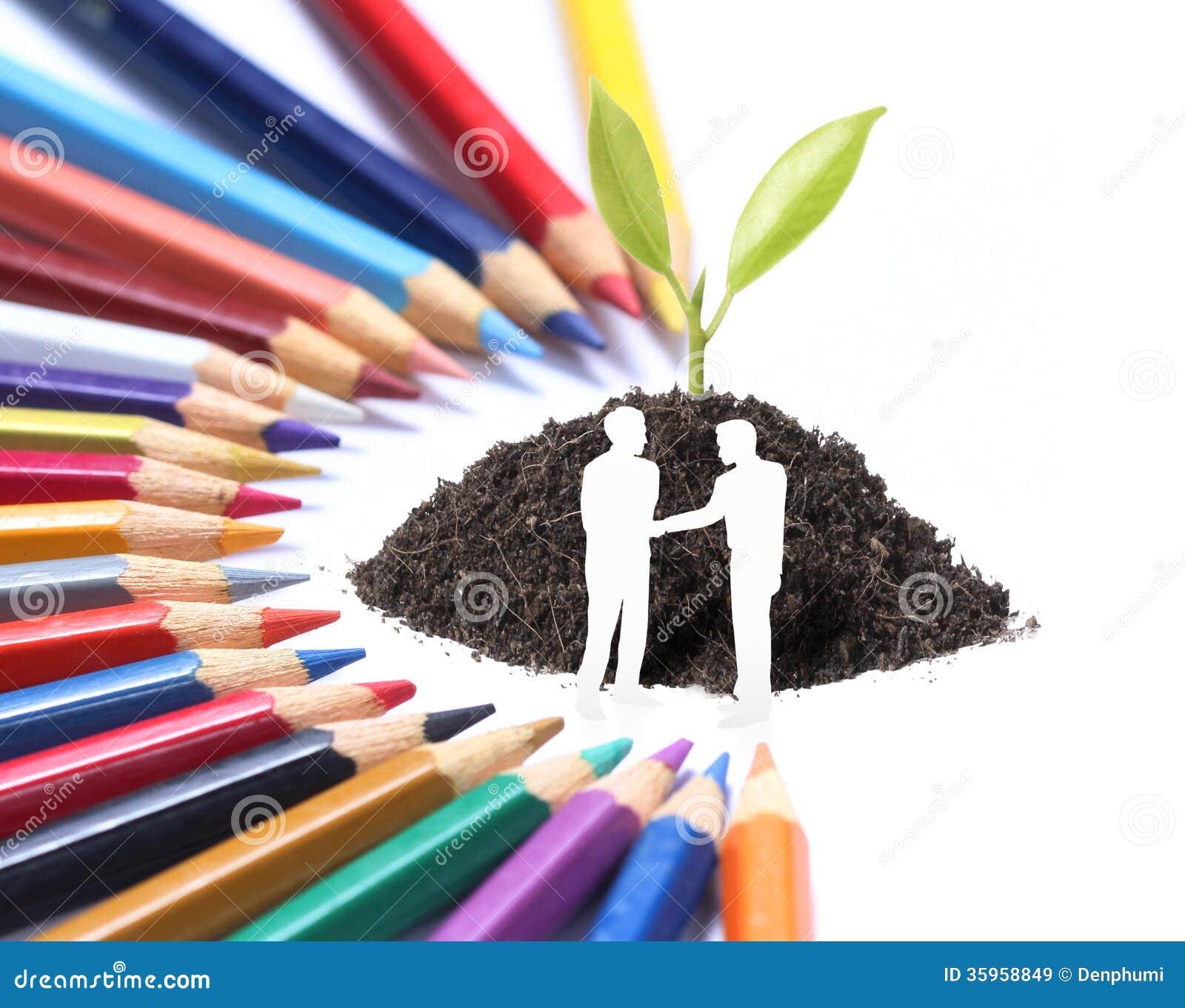 Lápiz y planta del color