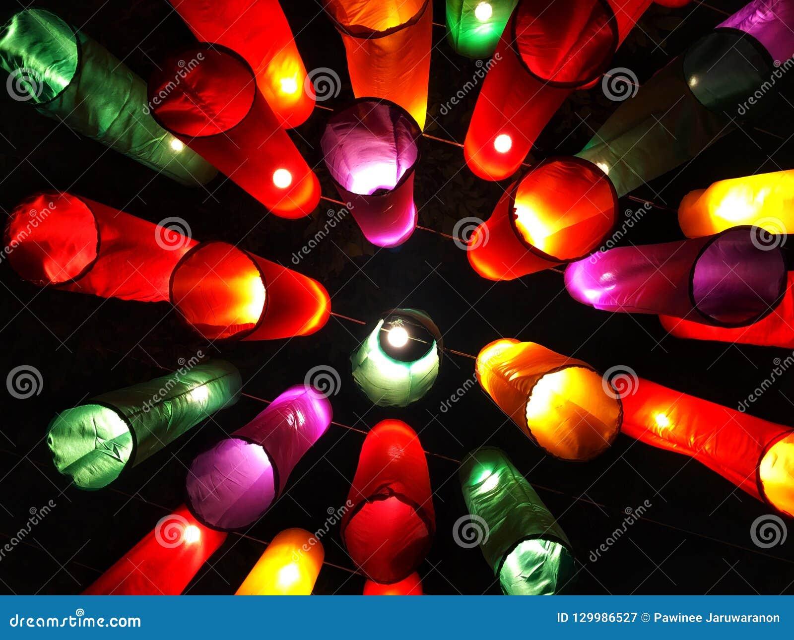 Lâmpada colorida da estrutura da tela que pendura no fio entre a árvore