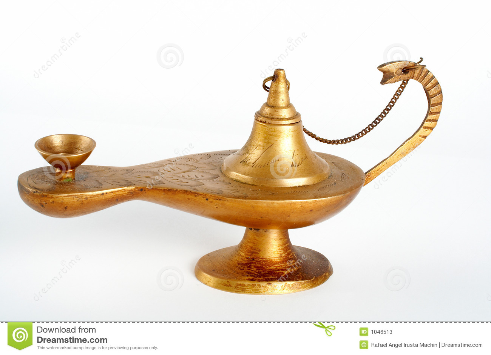 Lâmpada de petróleo de bronze
