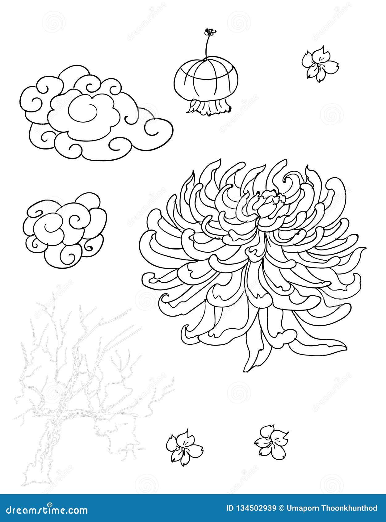 Lâmpada E Nuvem Japonesas Com A Flor Para Imprimir No Papel E Para O