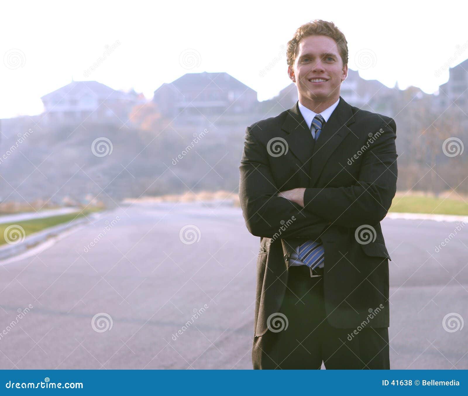Lächeln auf einem Geschäftsmann