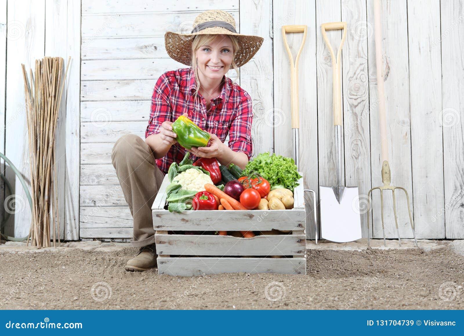 Lächelnde Frau im Gemüsegarten mit Holzkiste voll Gemüse auf weißem Wandhintergrund mit Werkzeugen