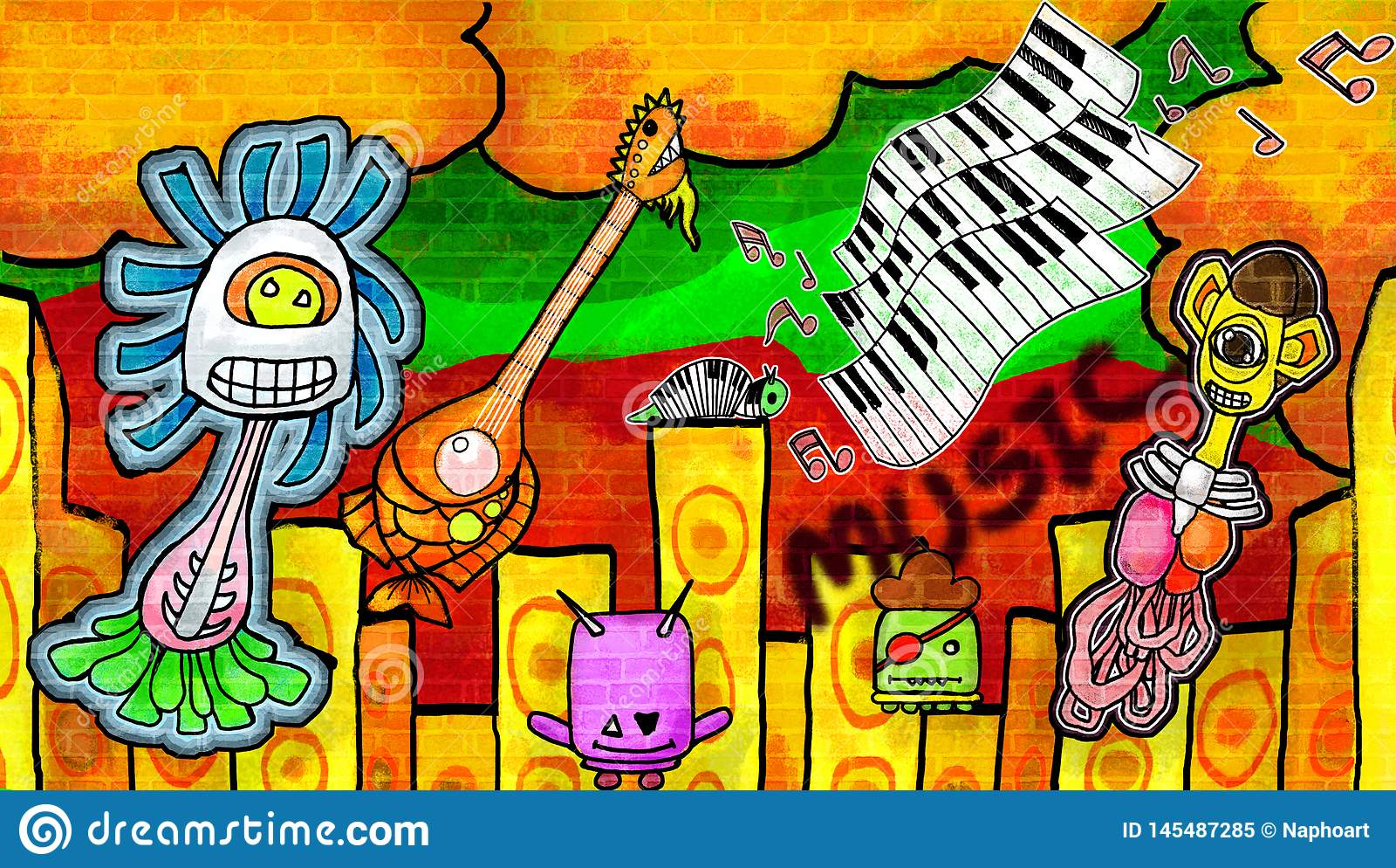 L?chelnde Monster, welche die Musik die bunte Farbe Wand genie?en