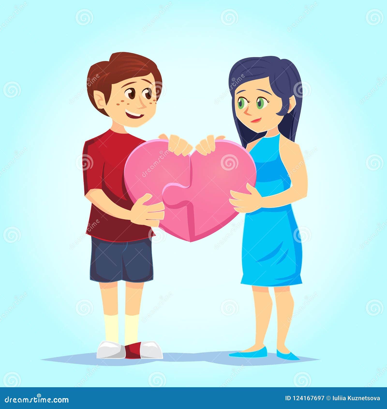 Lächelnder junger Mann und Frau fügten liebevoll Herz-förmiges Puzzlespiel zusammen Paare in der Liebe Charaktere für das Fest de