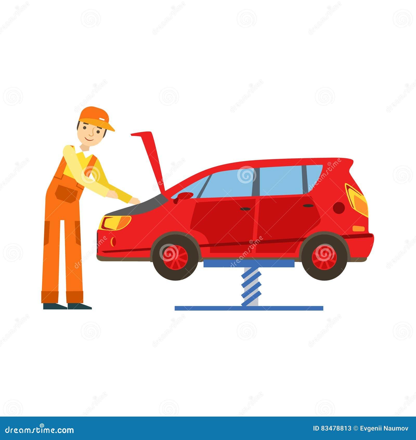 Lächelnder Mechaniker Looking At Engine in der Garage, Auto-Reparatur-Werkstatt-Service-Illustration